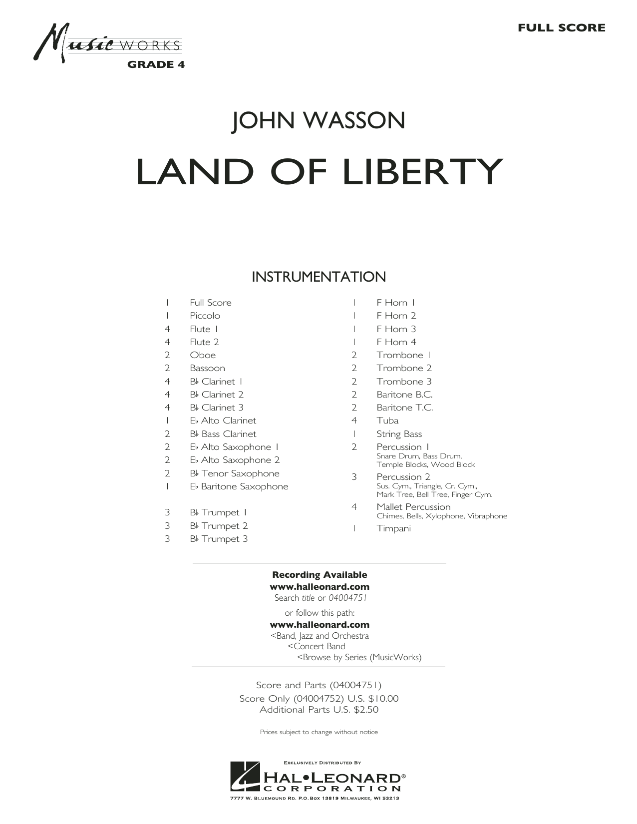 Land of Liberty - Conductor Score (Full Score)