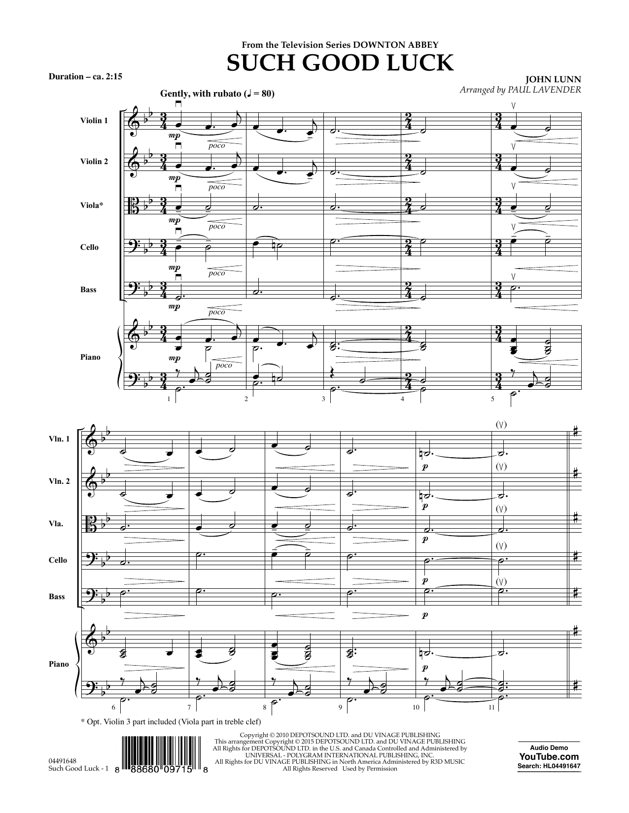 Such Good Luck (from Downton Abbey) (COMPLETE) sheet music for orchestra by John Lunn