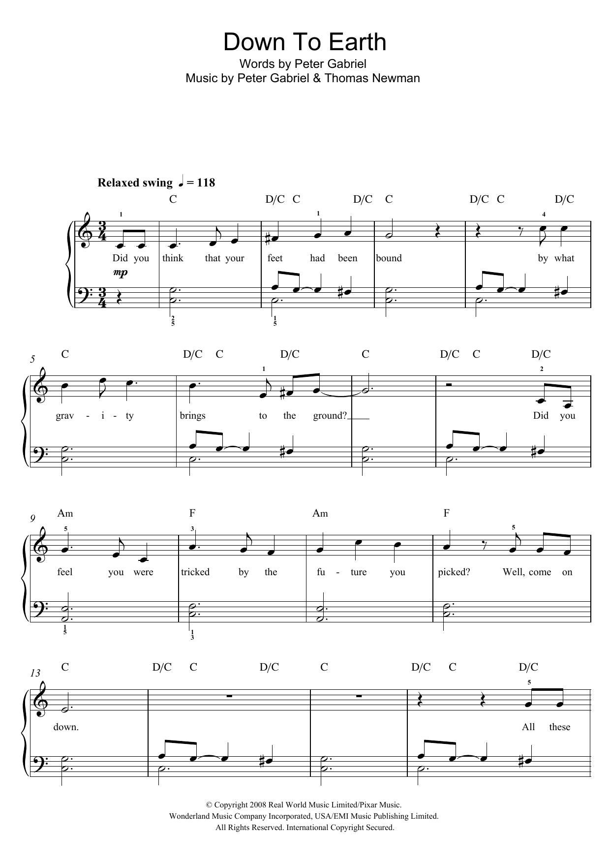 Peter Gabriel: Down To Earth (from 'WALLâ?¢E')