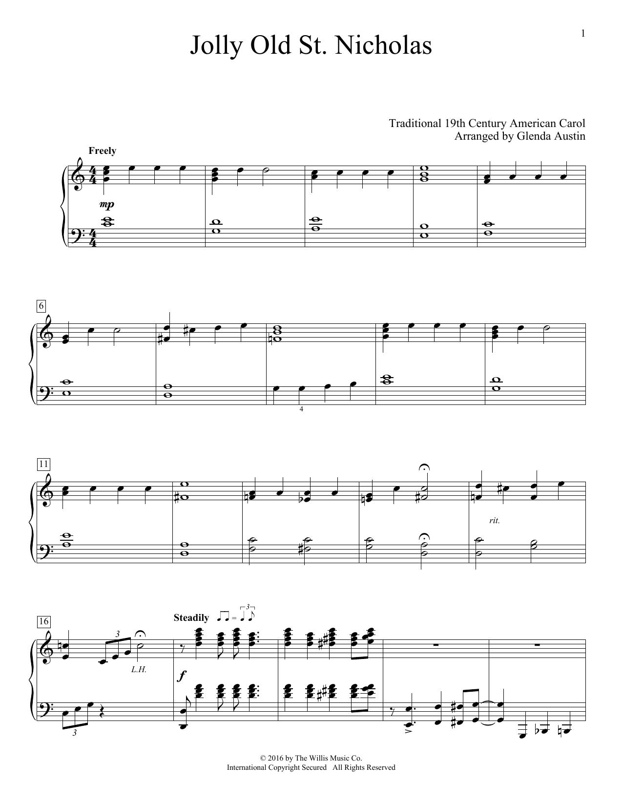 Partition piano Jolly Old St. Nicholas de Glenda Austin - Piano Facile