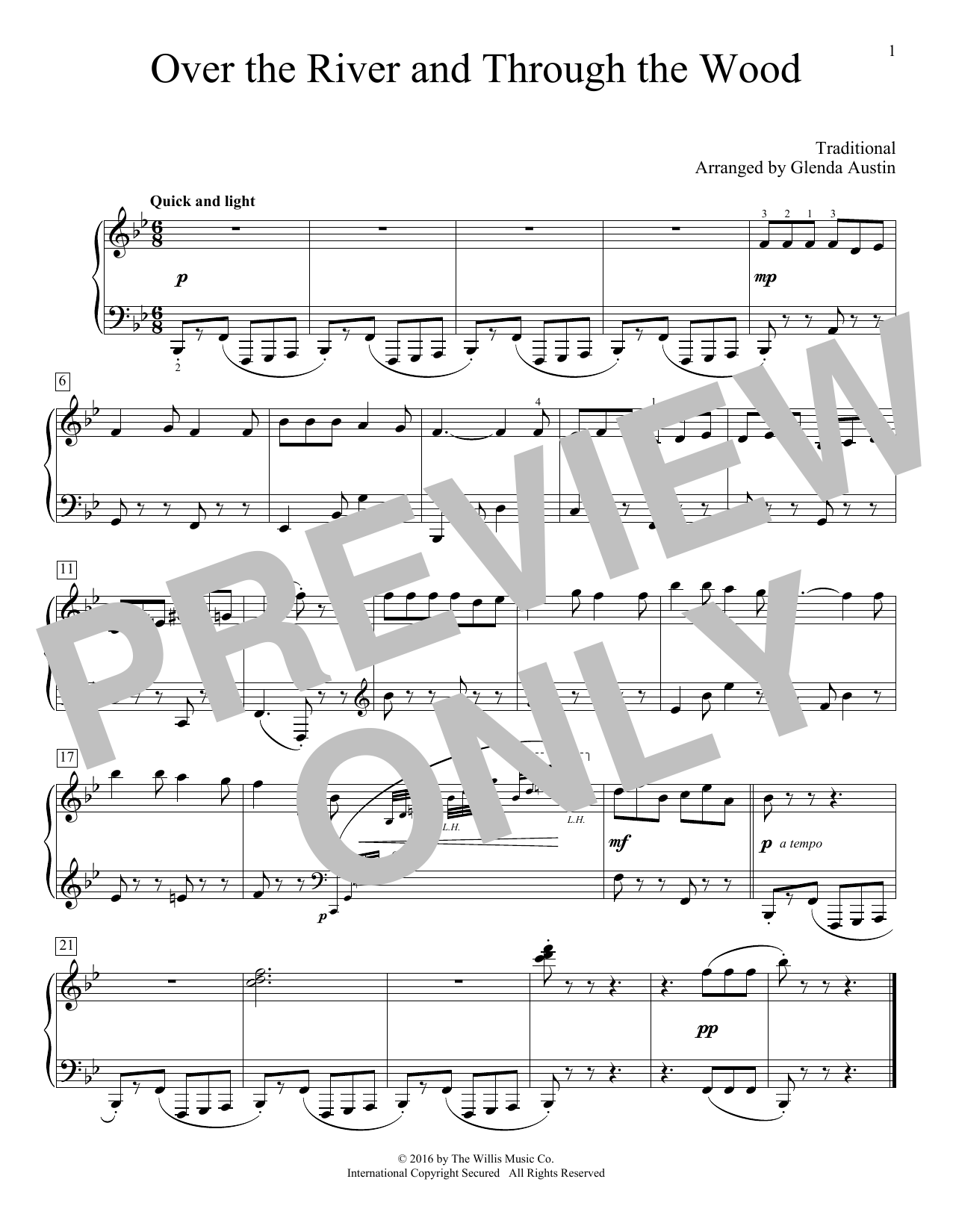 Partition piano Over The River And Through The Woods de Glenda Austin - Piano Facile