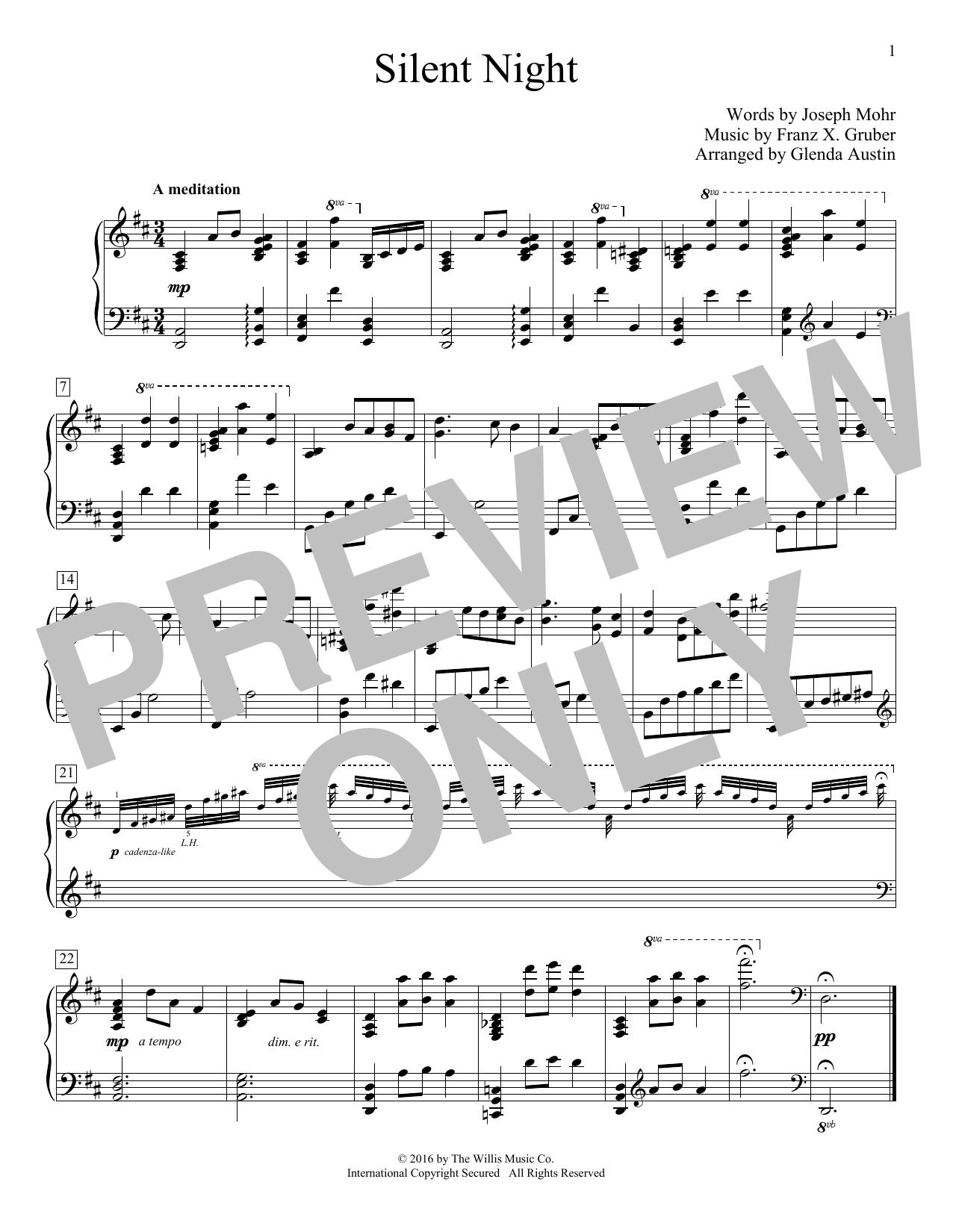 Partition piano Silent Night de Glenda Austin - Piano Facile