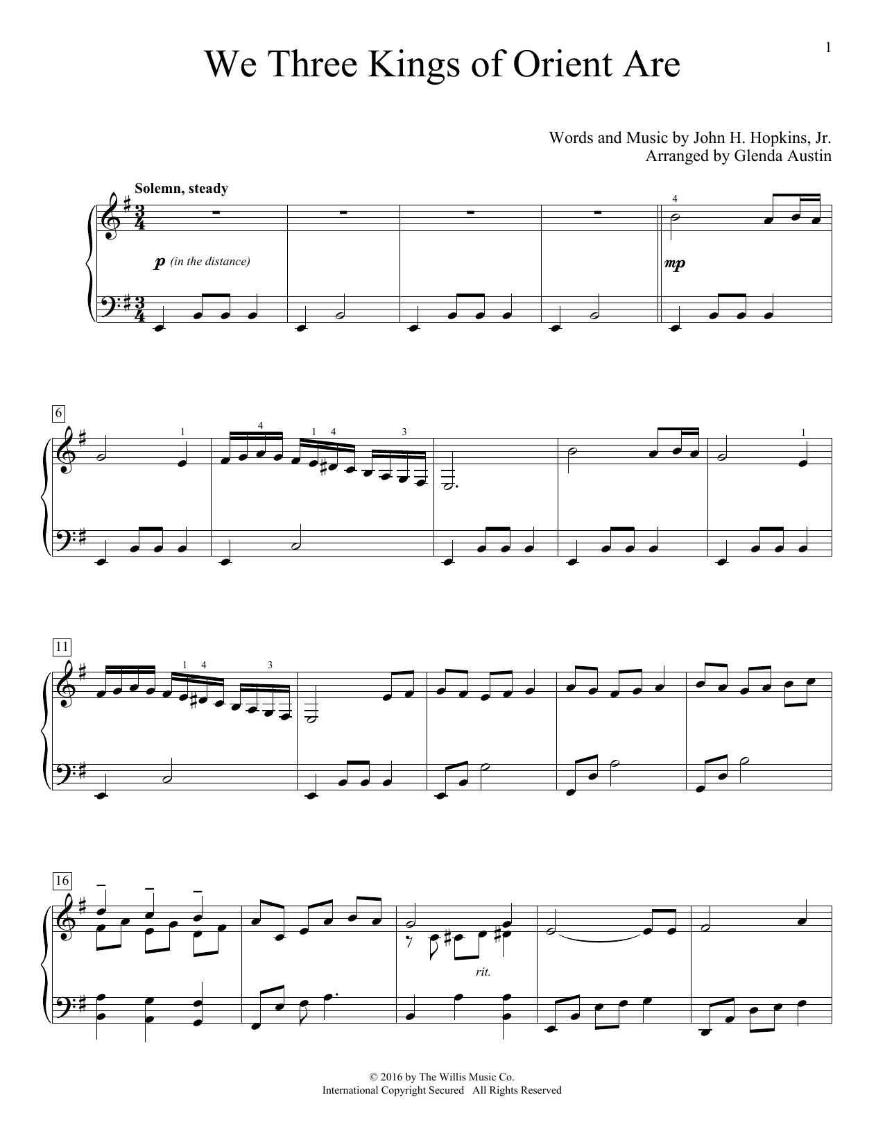 Partition piano We Three Kings Of Orient Are de Glenda Austin - Piano Facile