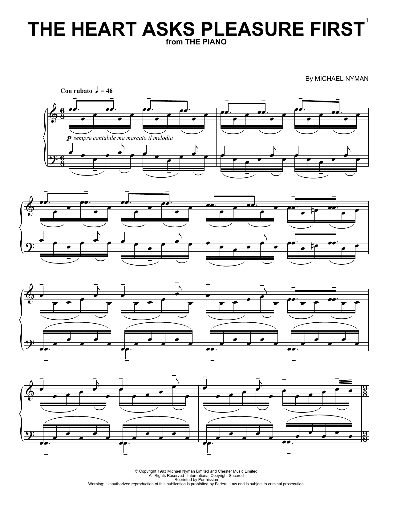 The heart asks pleasure first free piano sheet music