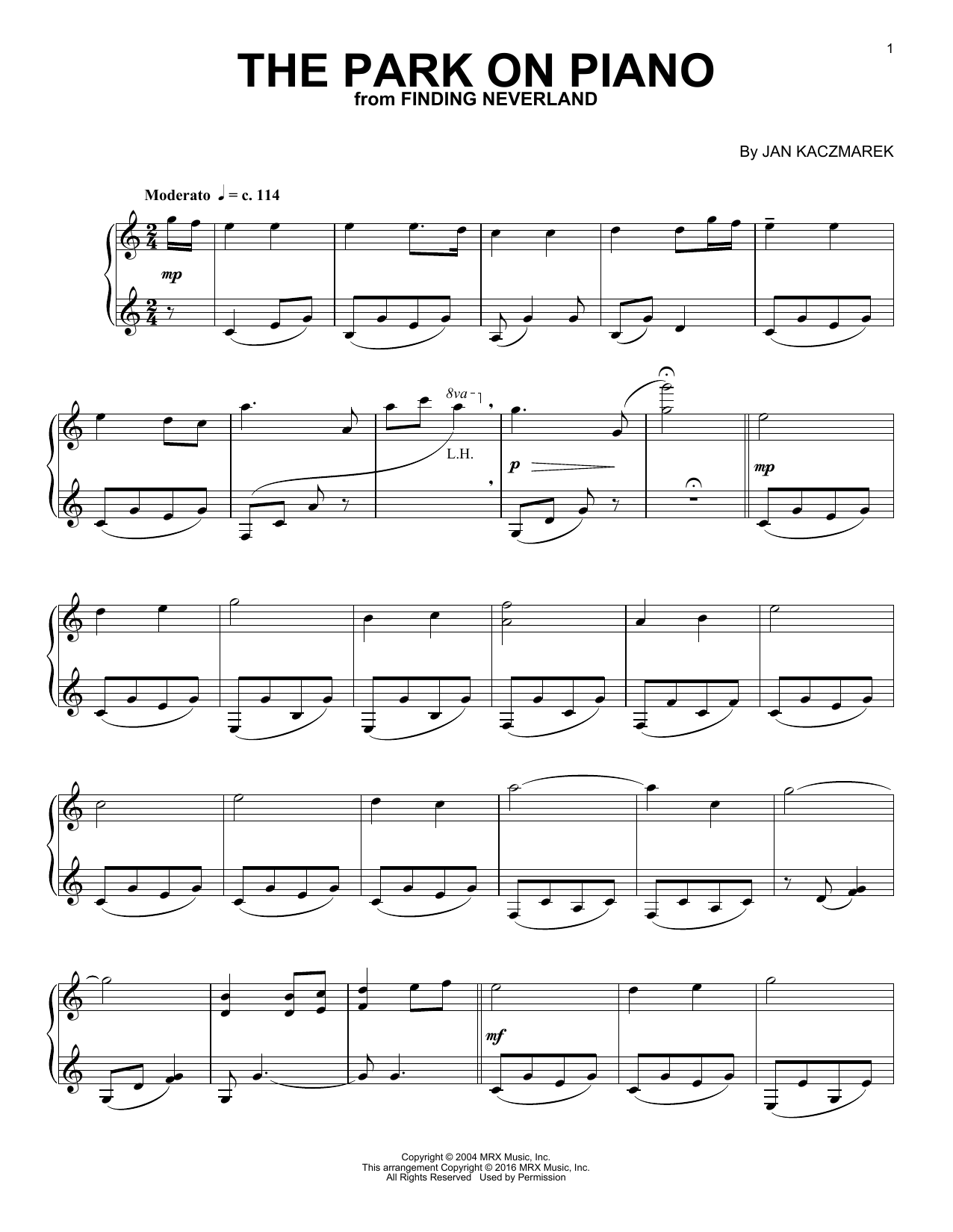 Partition piano The Park On Piano de Jan A.P. Kaczmarek - Piano Solo