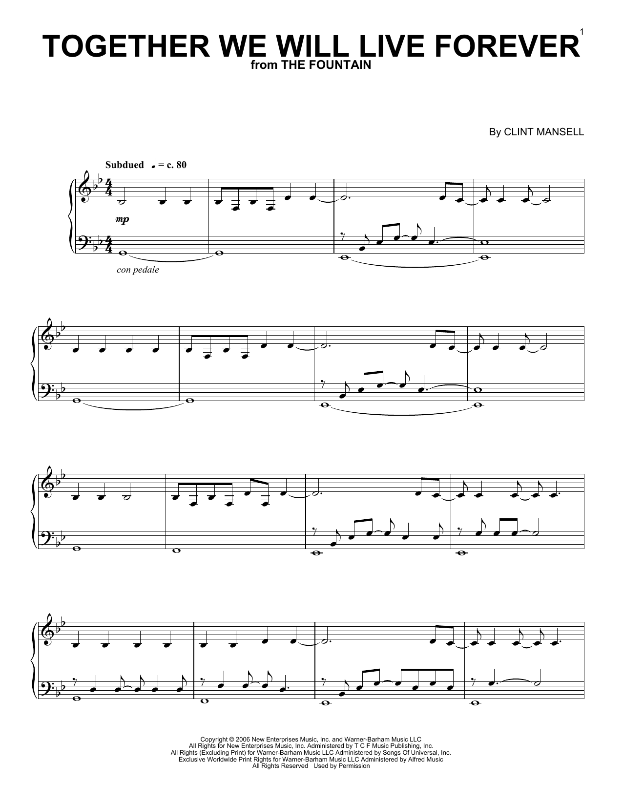 Partition piano Together We Will Live Forever de Clint Mansell - Piano Solo