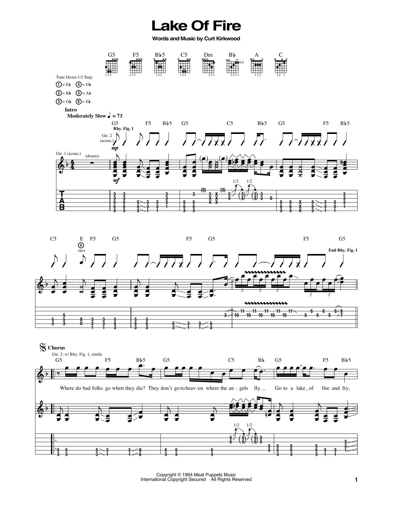 Tablature guitare Lake Of Fire de Nirvana - Tablature Guitare