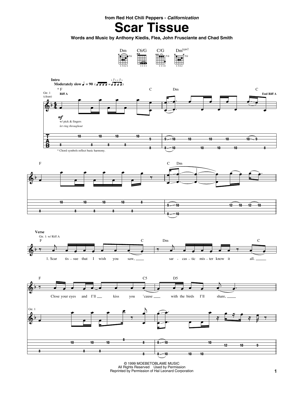 Tablature guitare Scar Tissue de Red Hot Chili Peppers - Tablature Guitare