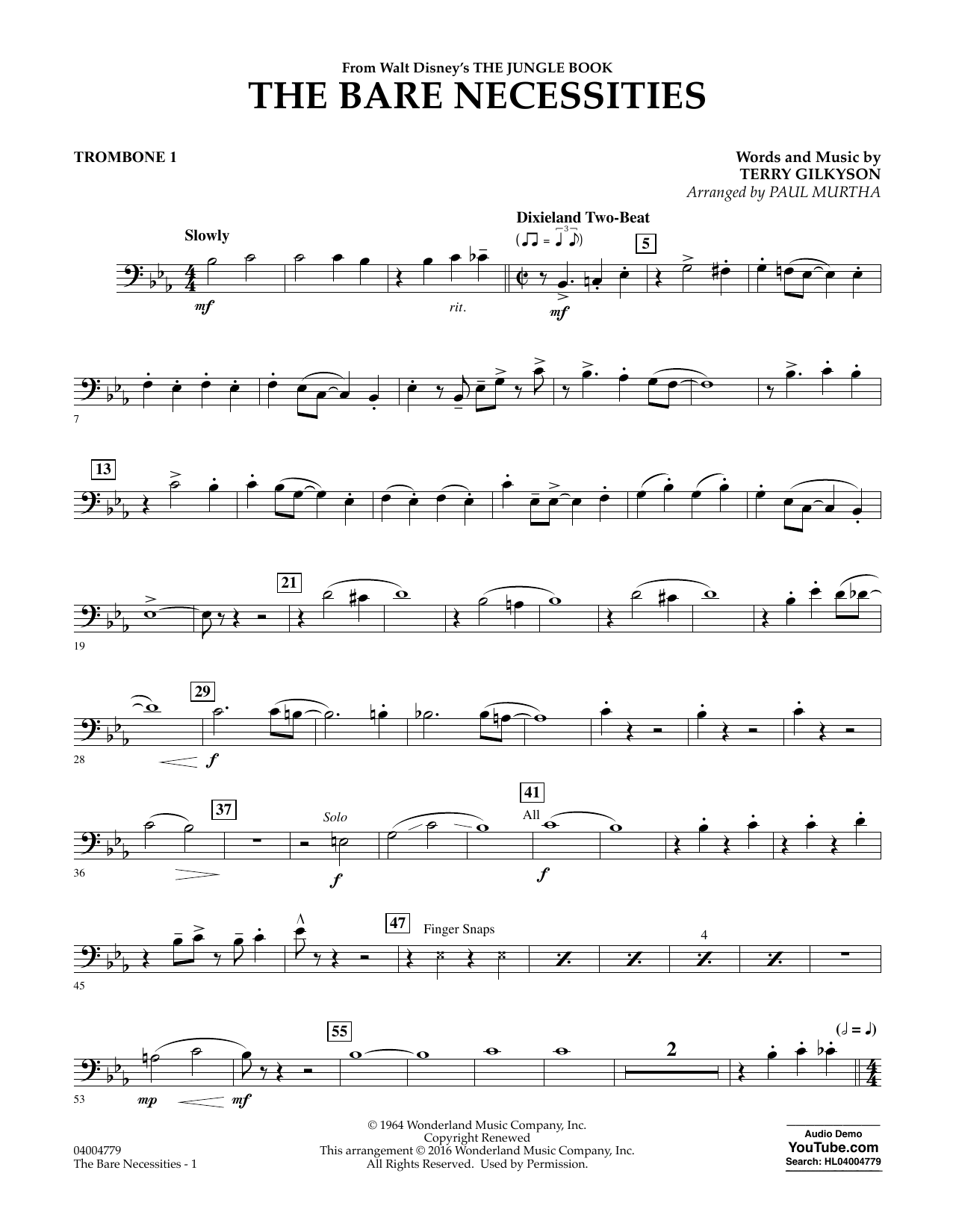 Terry Gilkyson - The Bare Necessities - Trombone 1