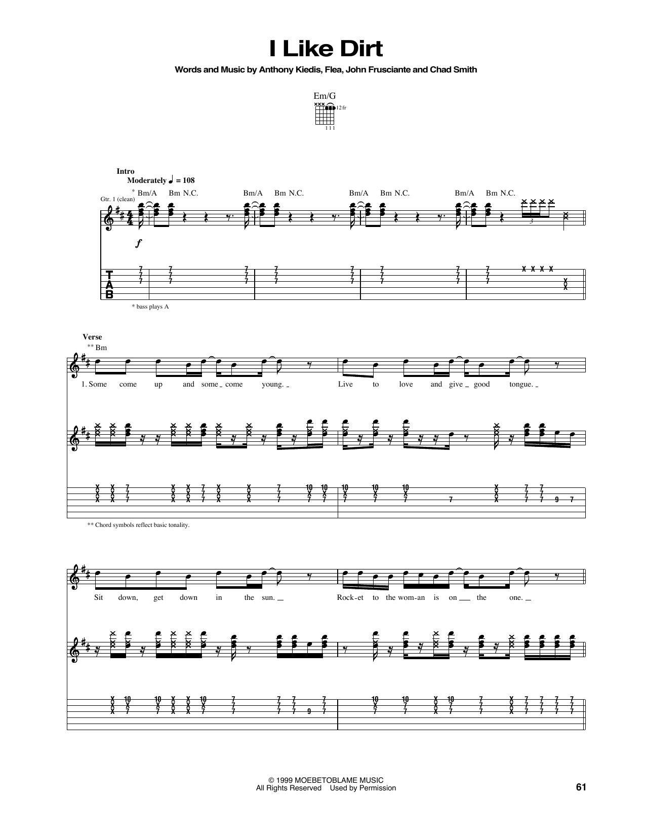 Tablature guitare I Like Dirt de Red Hot Chili Peppers - Tablature Guitare