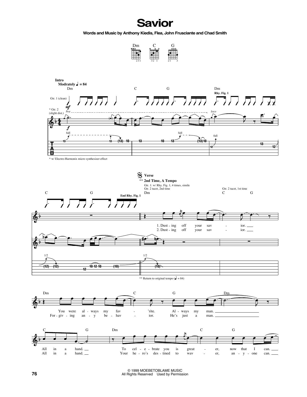 Tablature guitare Savior de Red Hot Chili Peppers - Tablature Guitare