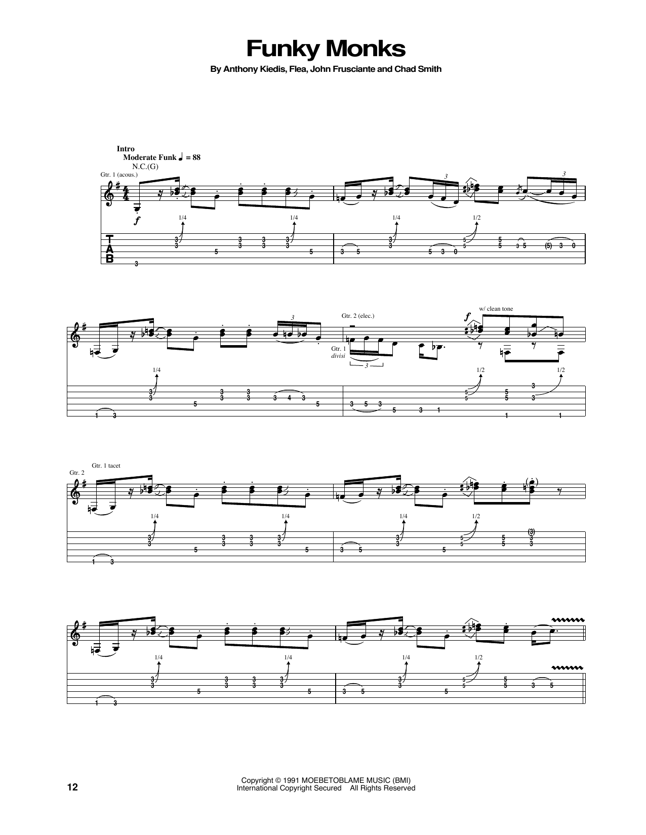 Tablature guitare Funky Monks de Red Hot Chili Peppers - Tablature Guitare
