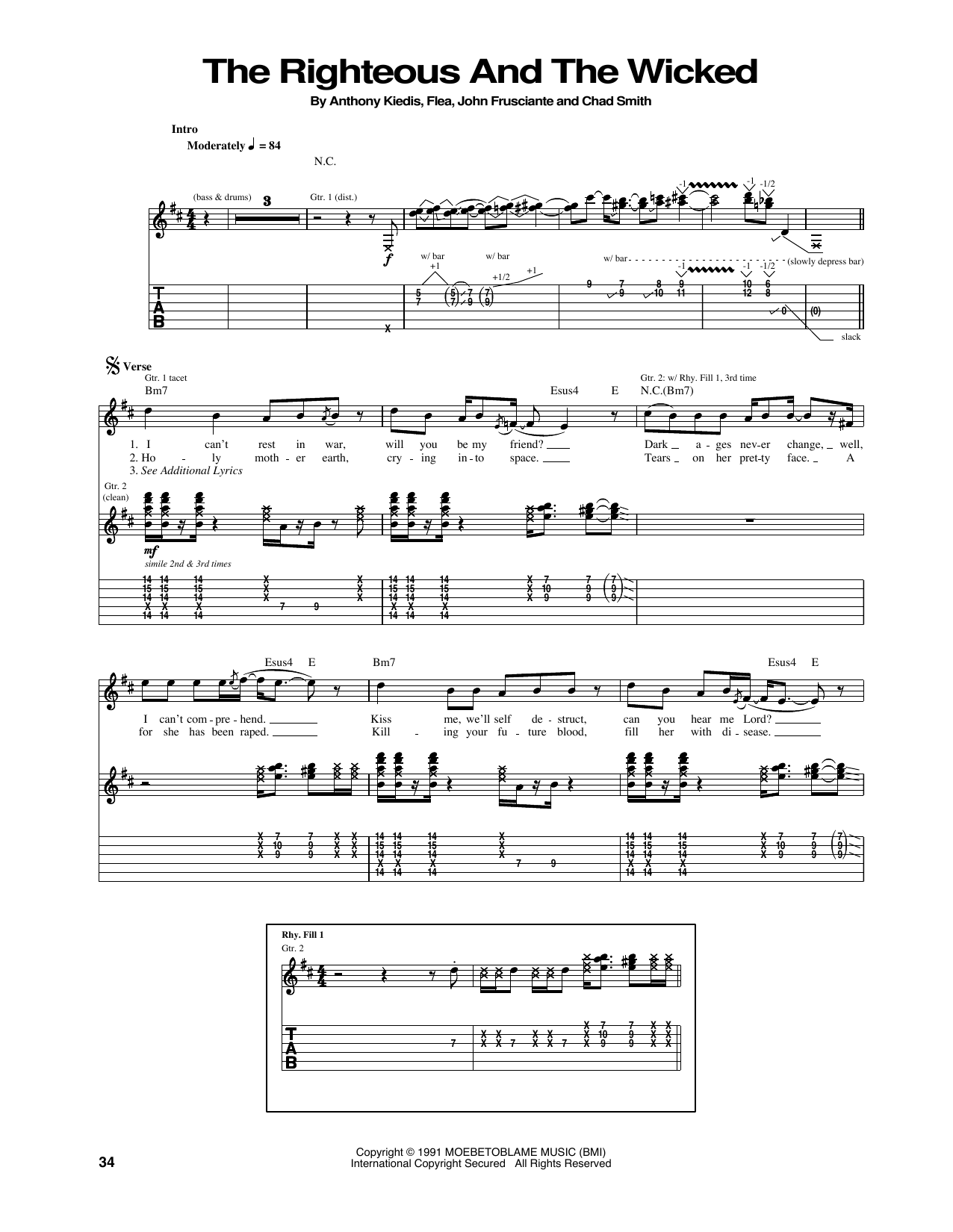 Tablature guitare The Righteous And The Wicked de Red Hot Chili Peppers - Tablature Guitare