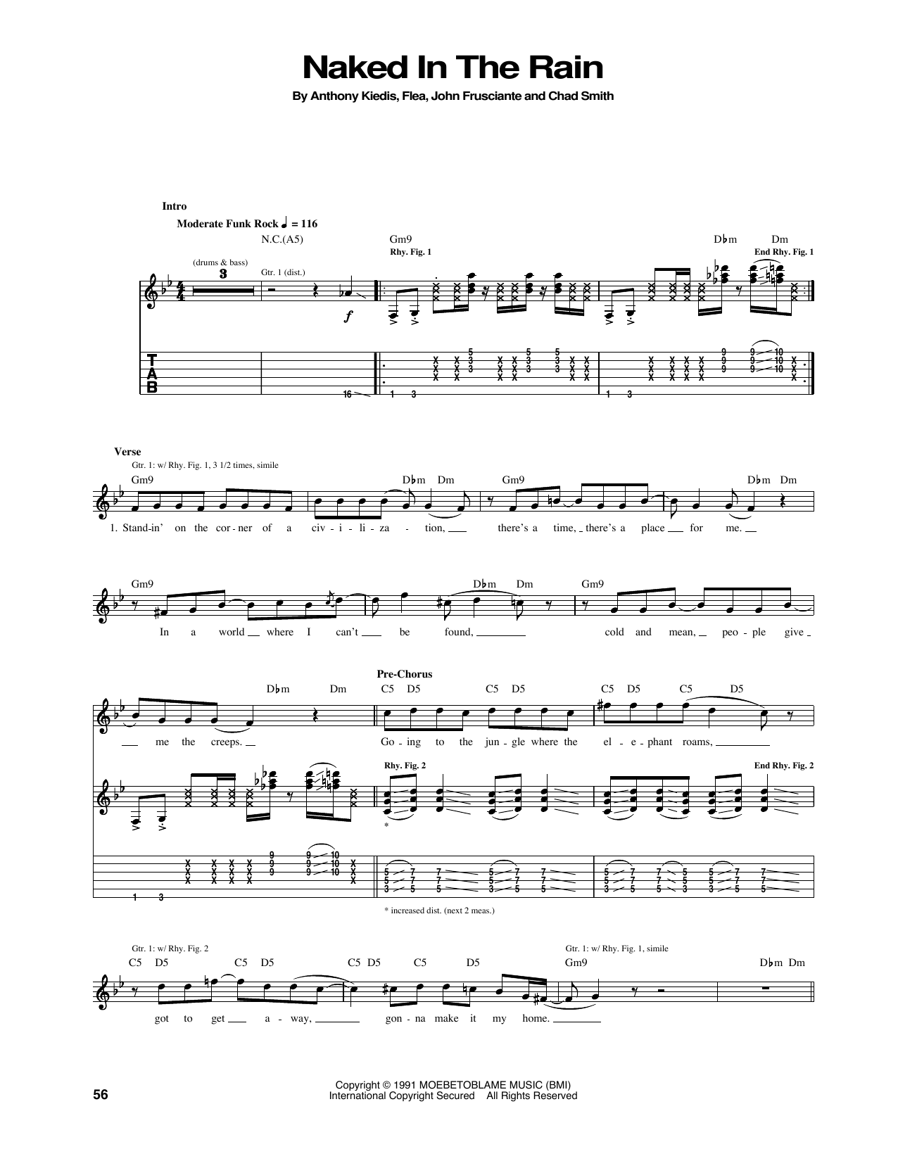 Tablature guitare Naked In The Rain de Red Hot Chili Peppers - Tablature Guitare