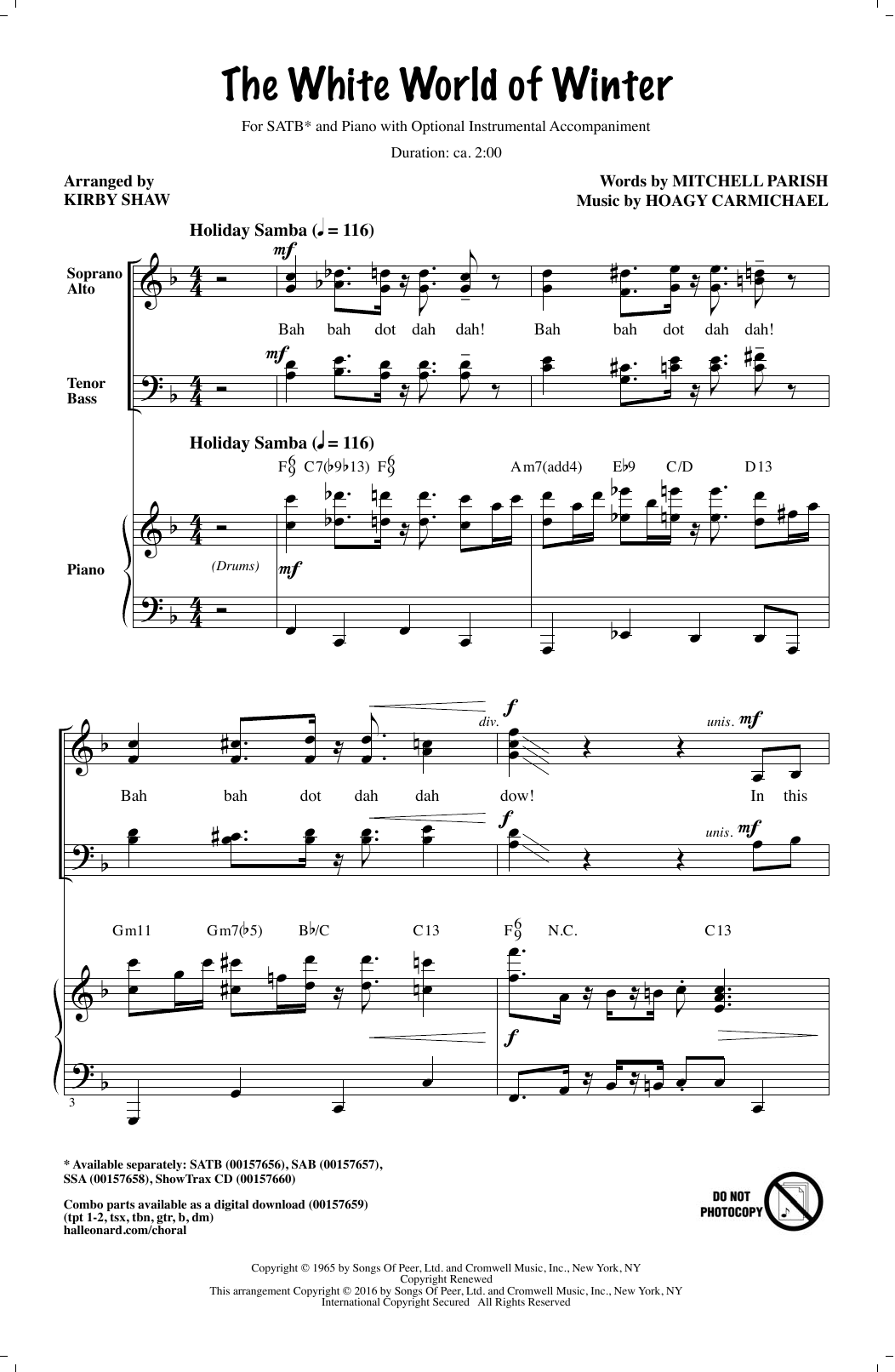 Partition chorale The White World Of Winter de Kirby Shaw - SATB