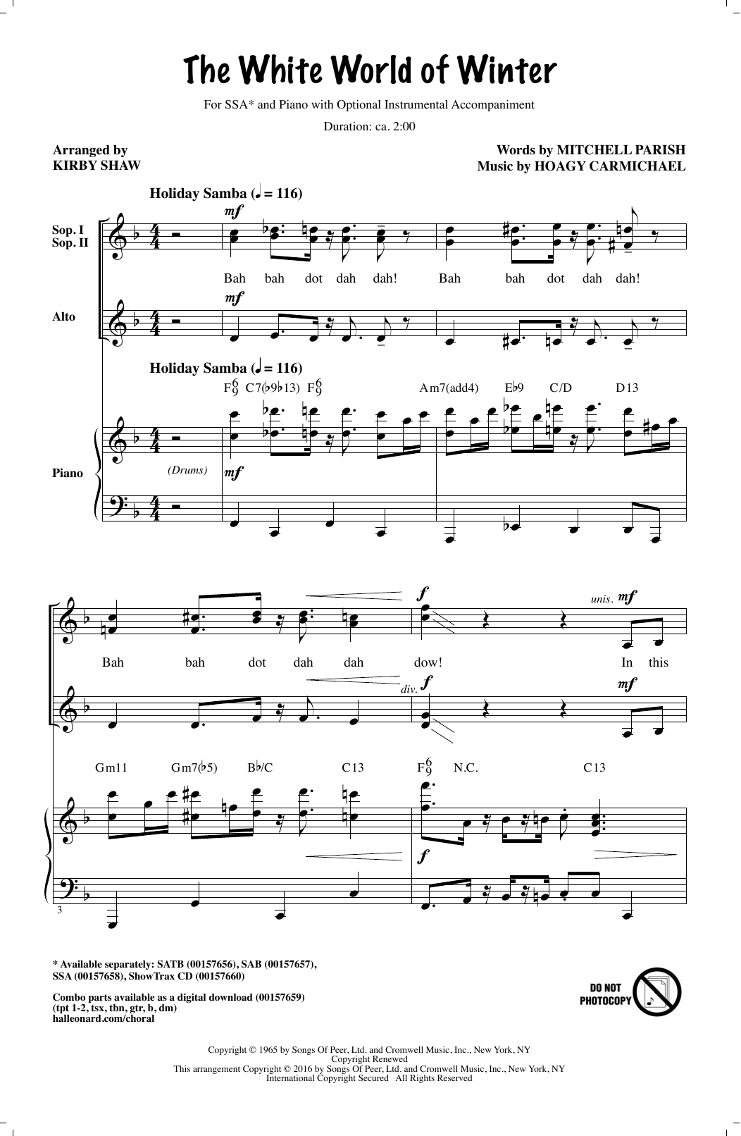 Partition chorale The White World Of Winter de Kirby Shaw - SSA