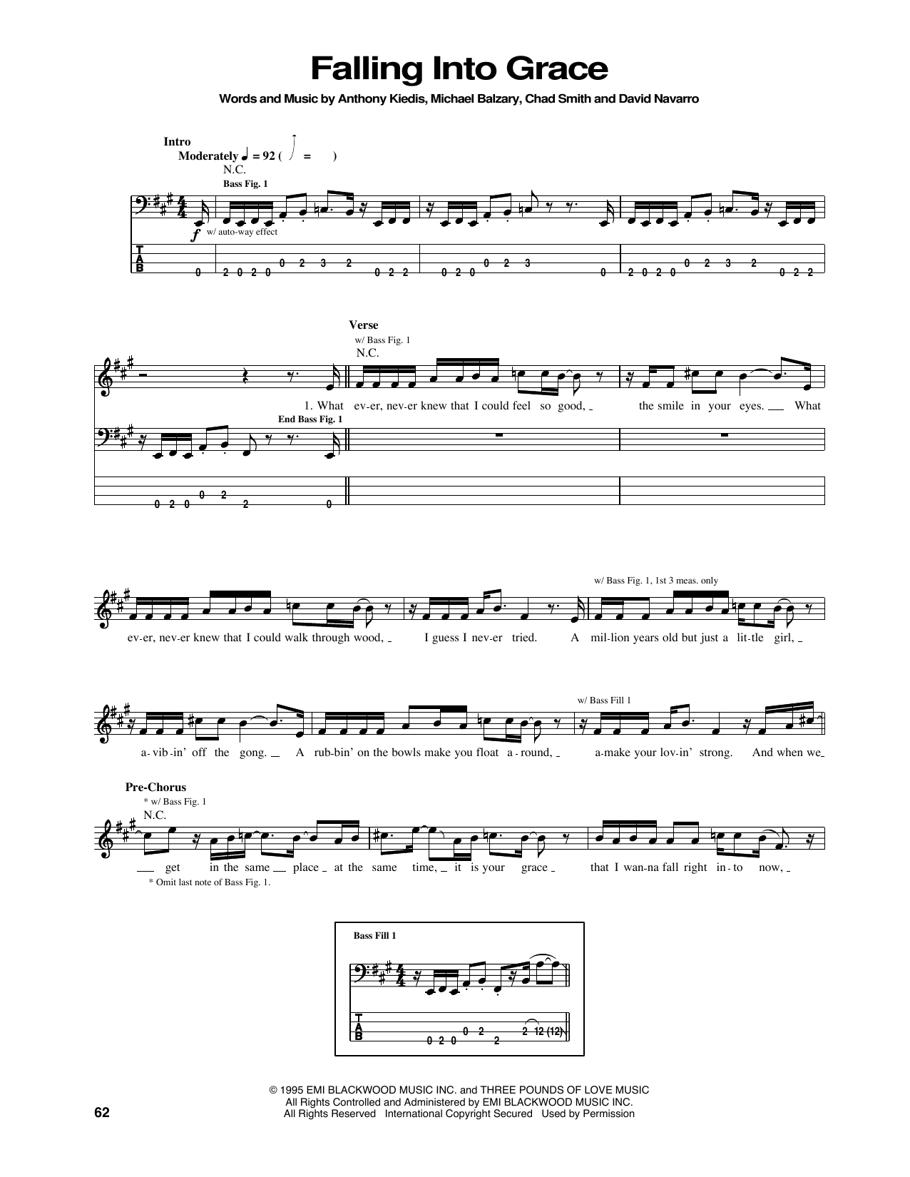 Tablature guitare Falling Into Grace de Red Hot Chili Peppers - Tablature Basse