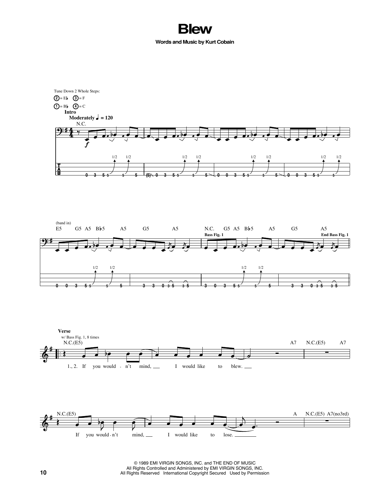 Tablature guitare Blew de Nirvana - Tablature Basse