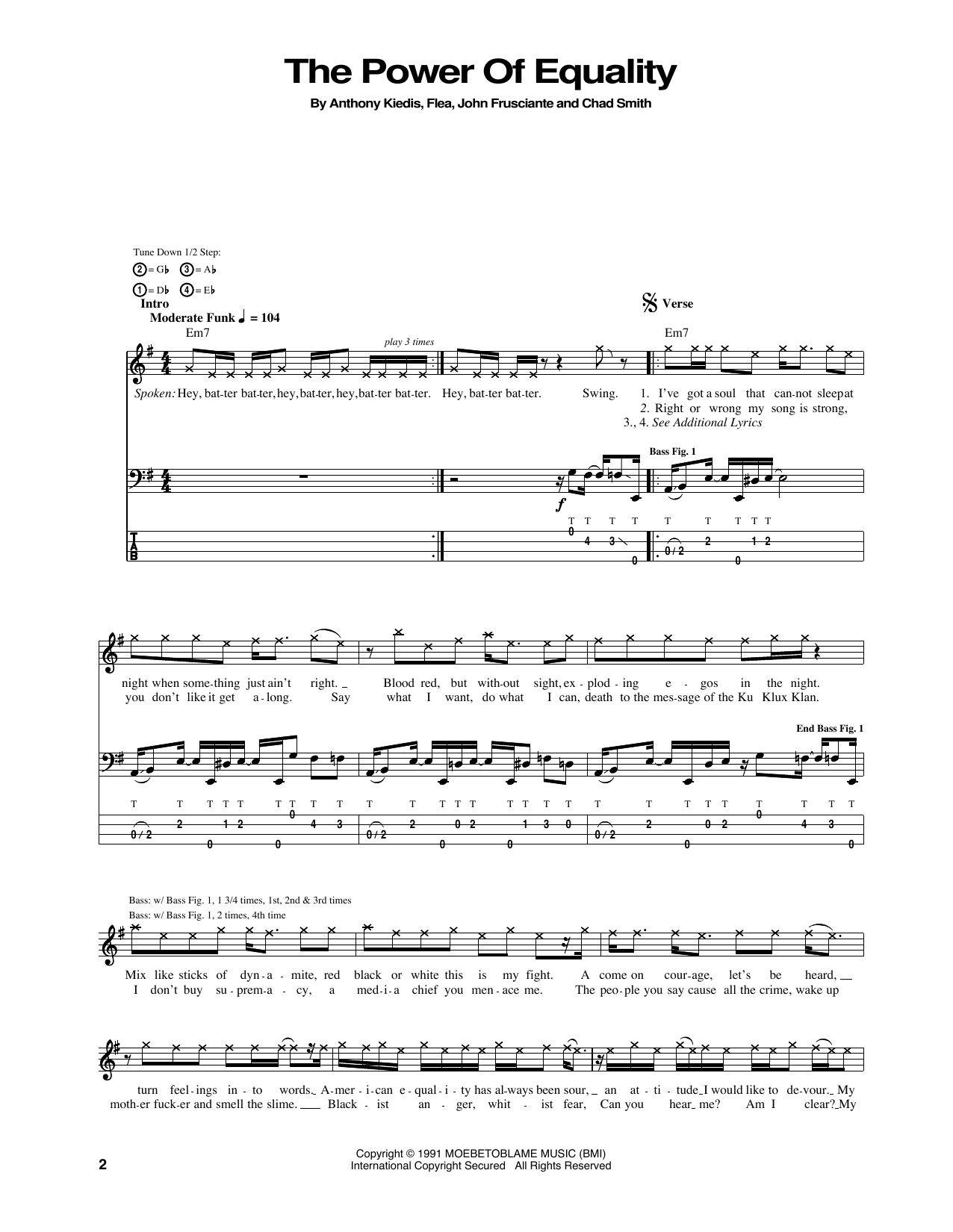 Tablature guitare The Power Of Equality de Red Hot Chili Peppers - Tablature Basse