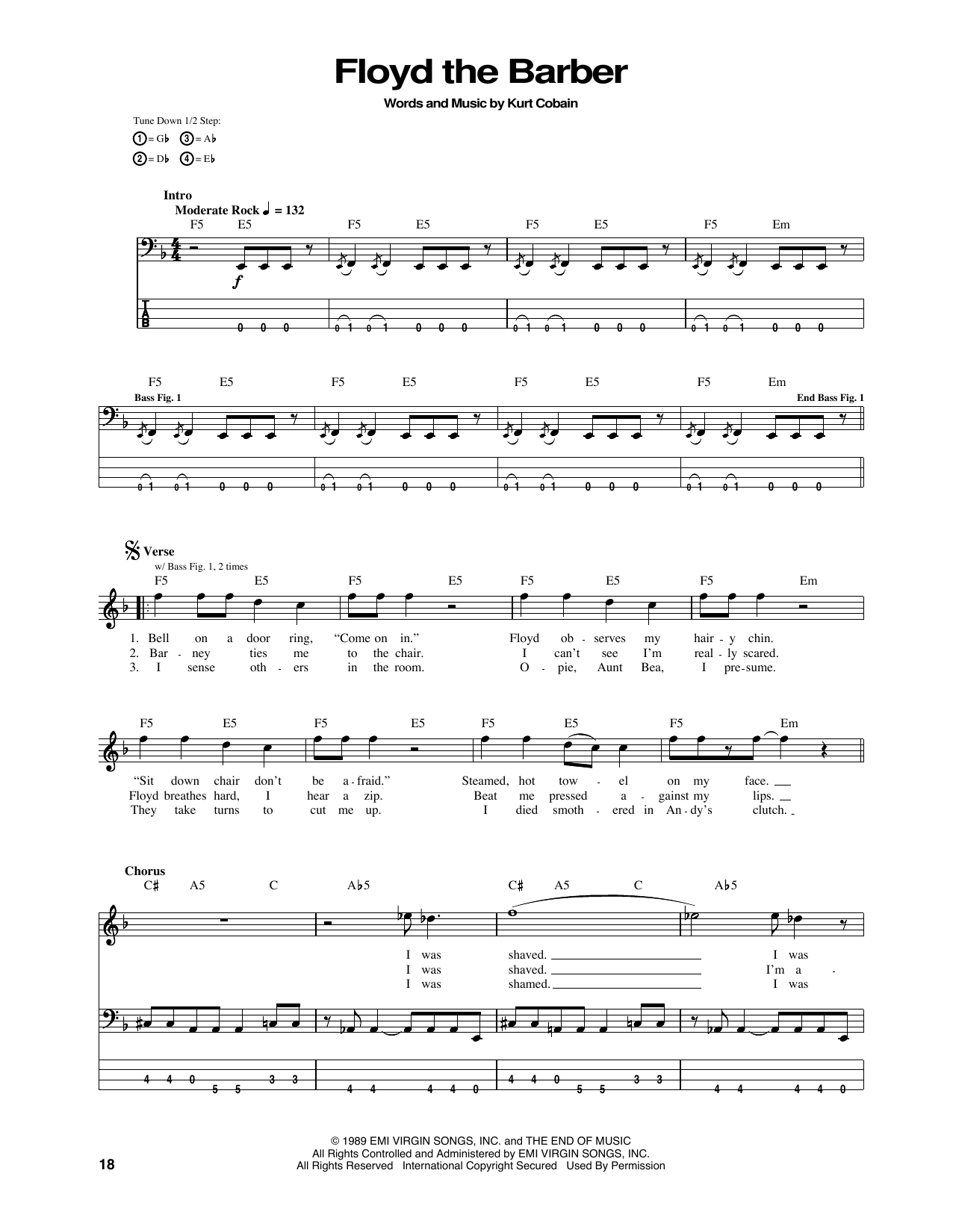 Tablature guitare Floyd The Barber de Nirvana - Tablature Basse