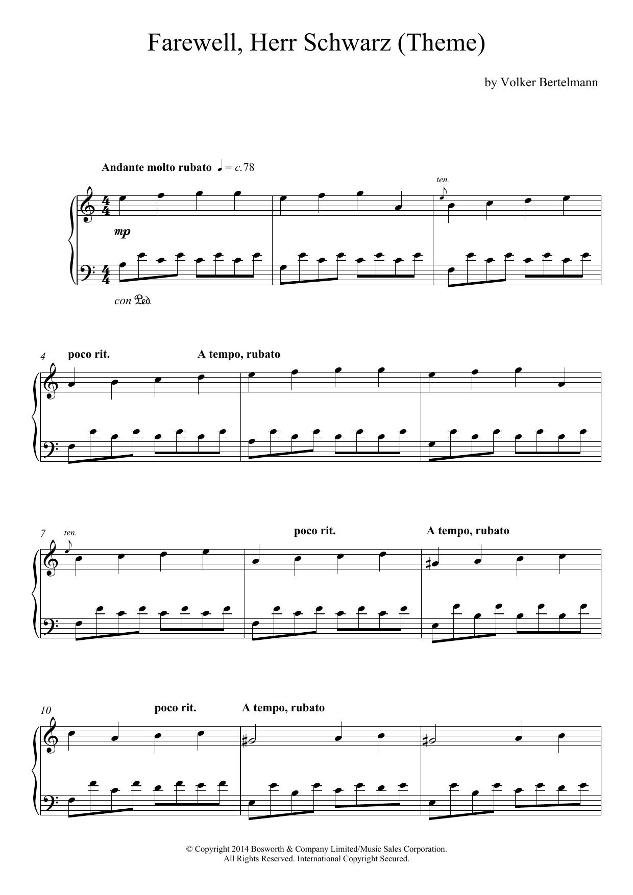 Hauschka - Farewell, Herr Schwarz (Theme)
