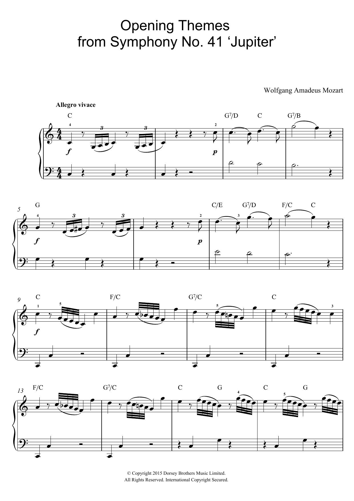 Wolfgang Amadeus Mozart: Opening Themes from Symphony No. 41 'Jupiter'