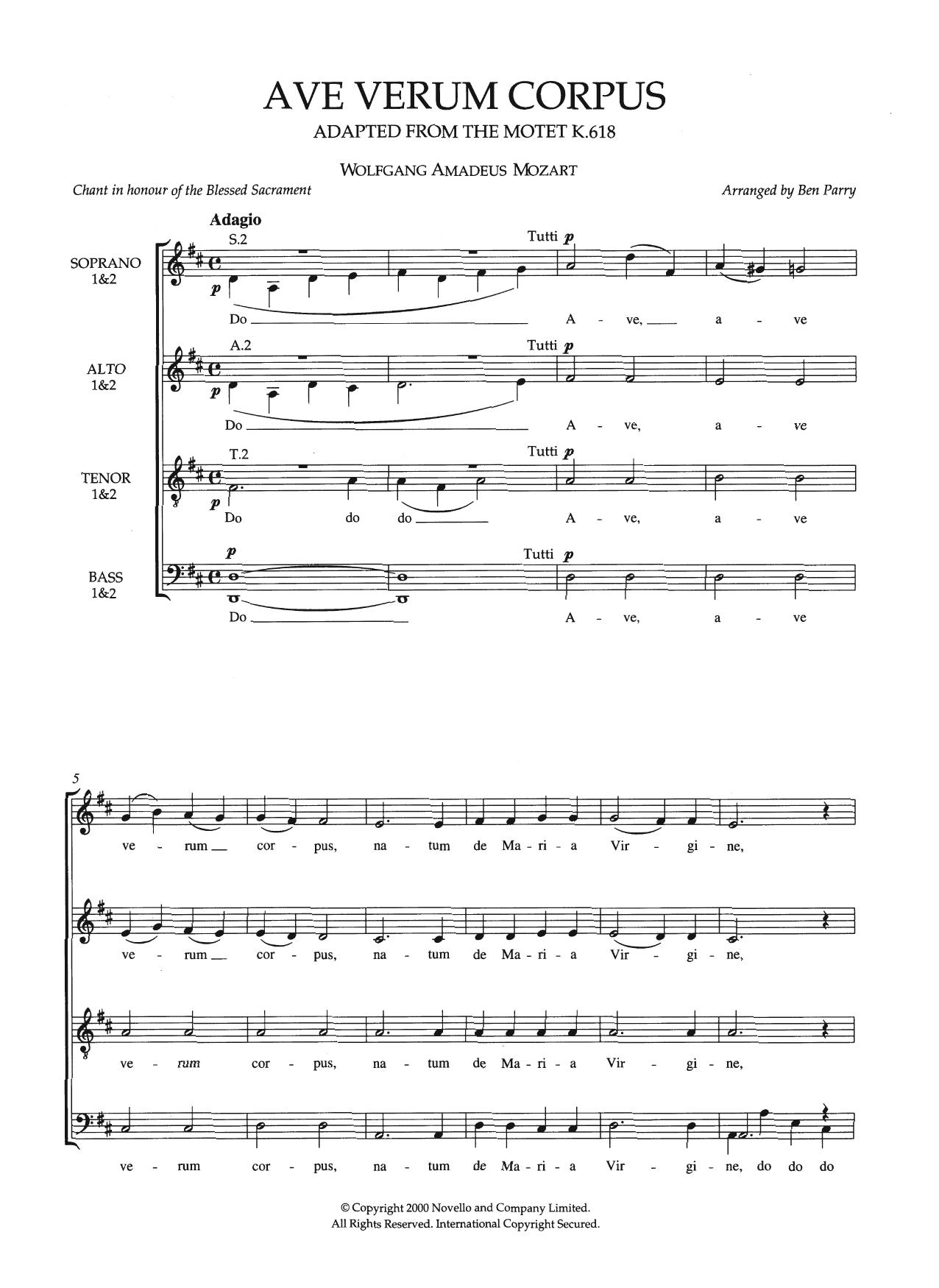 Wolfgang Amadeus Mozart - Ave Verum Corpus, K618 (arr. Ben Parry)