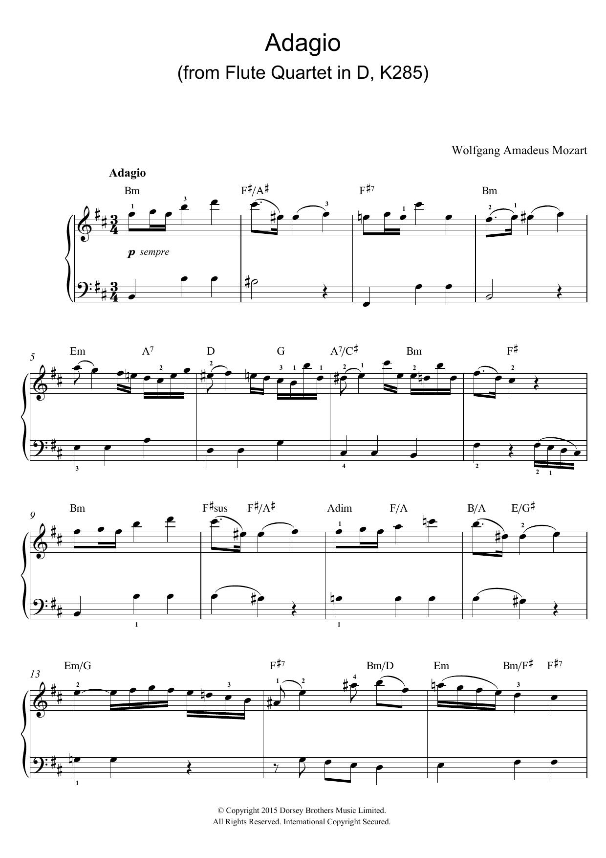 Wolfgang Amadeus Mozart - Adagio (from Flute Quartet In D, K285)