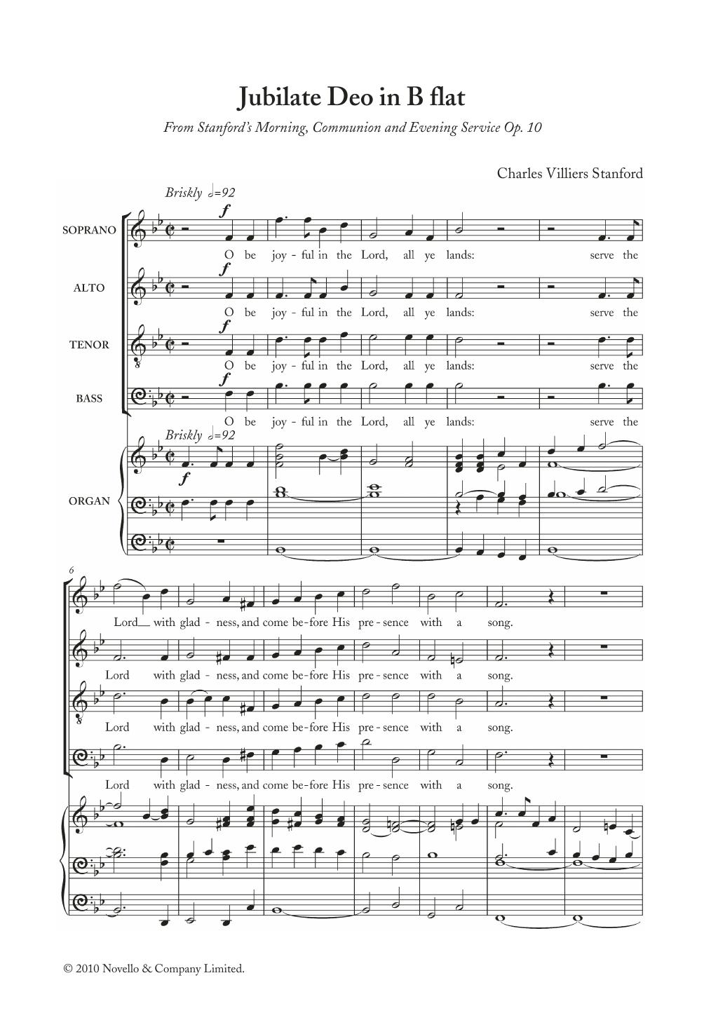 Charles Villiers Stanford - Jubilate Deo In B Flat, Op. 10