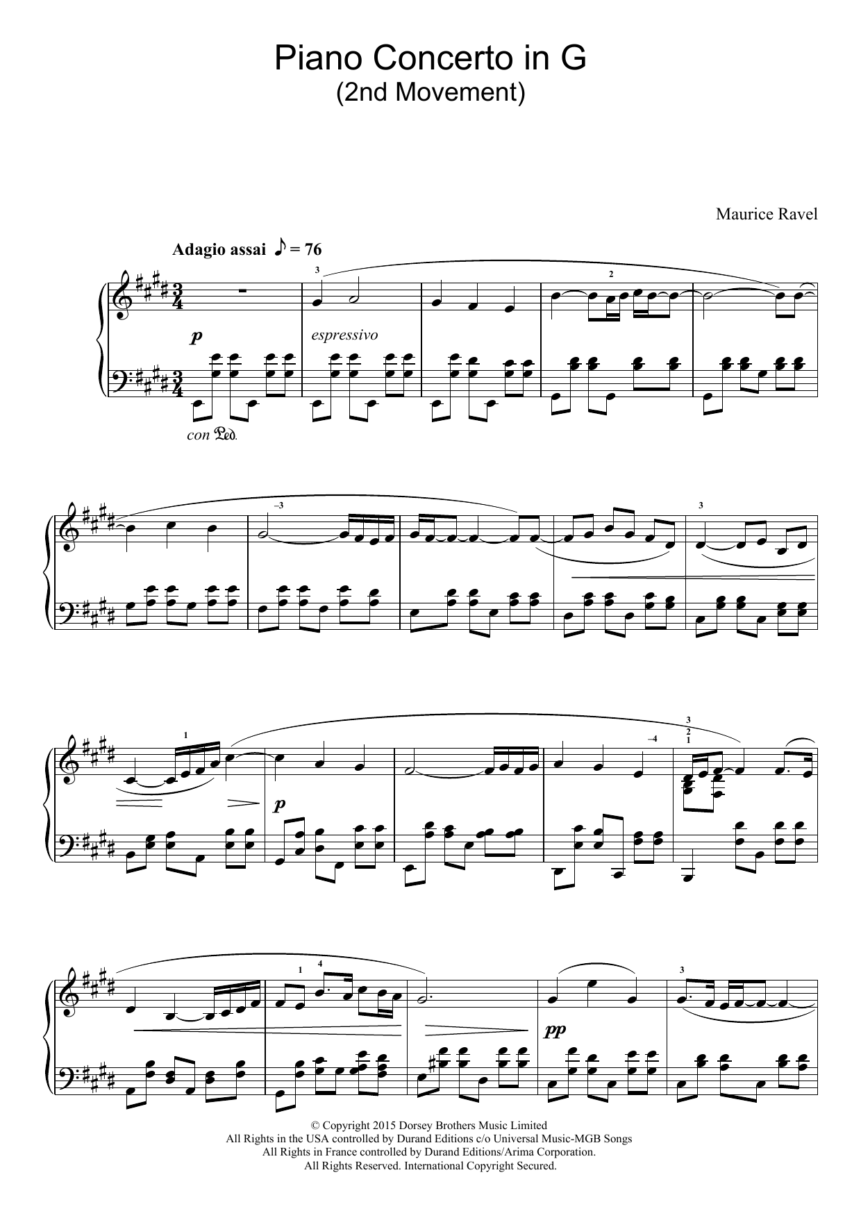 Maurice Ravel - Piano Concerto In G, 2nd Movement 'Adagio Assai'