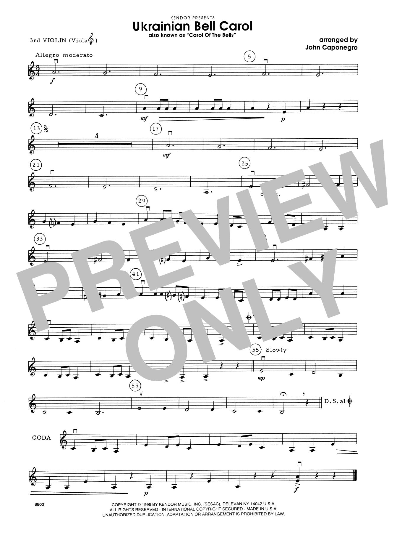 Ukrainian Bell Carol (Carol Of The Bells) - Violin 3 (Viola T.C.)