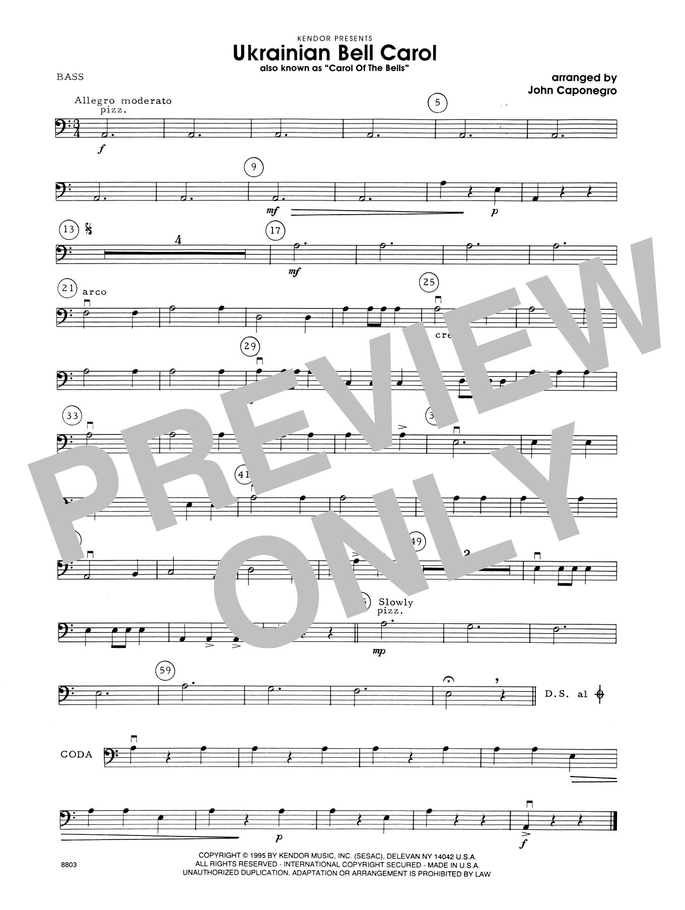 Ukrainian Bell Carol (Carol Of The Bells) - Bass