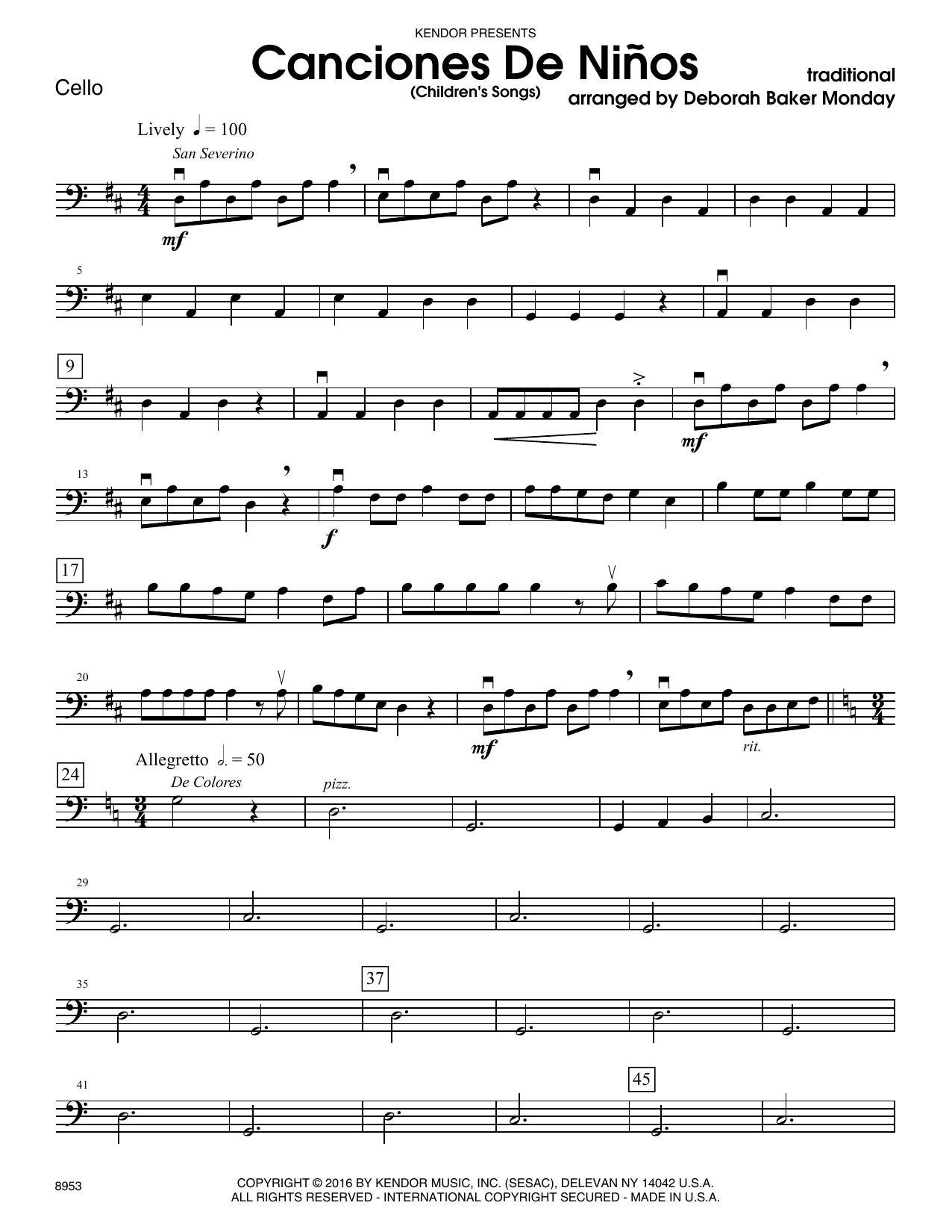 Canciones De Ninos - Cello