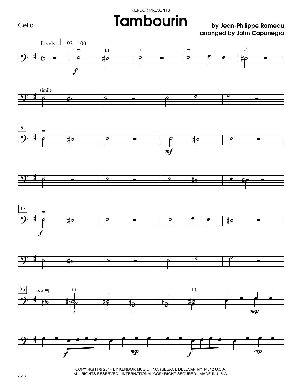 Tambourin - Cello