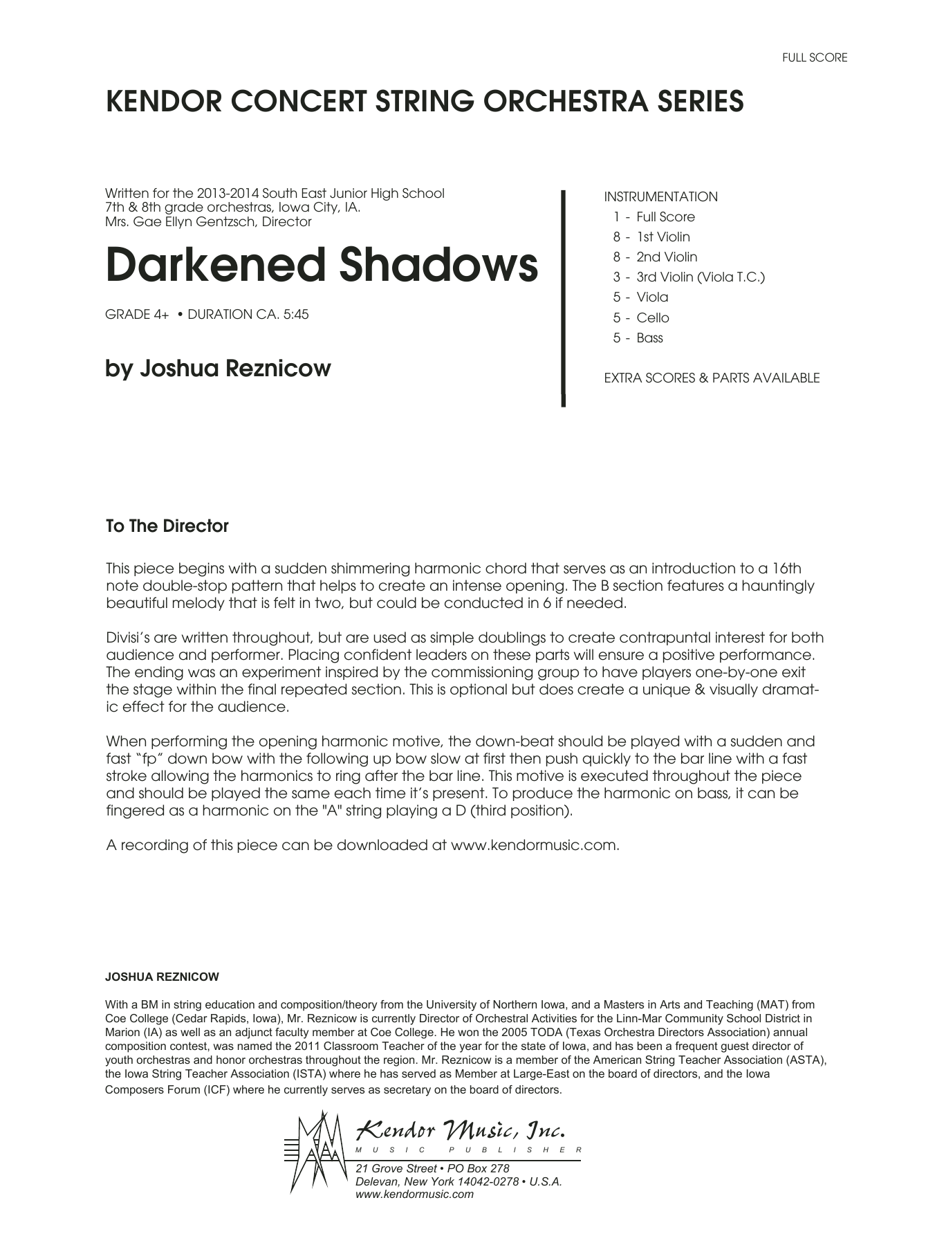 Darkened Shadows - Full Score