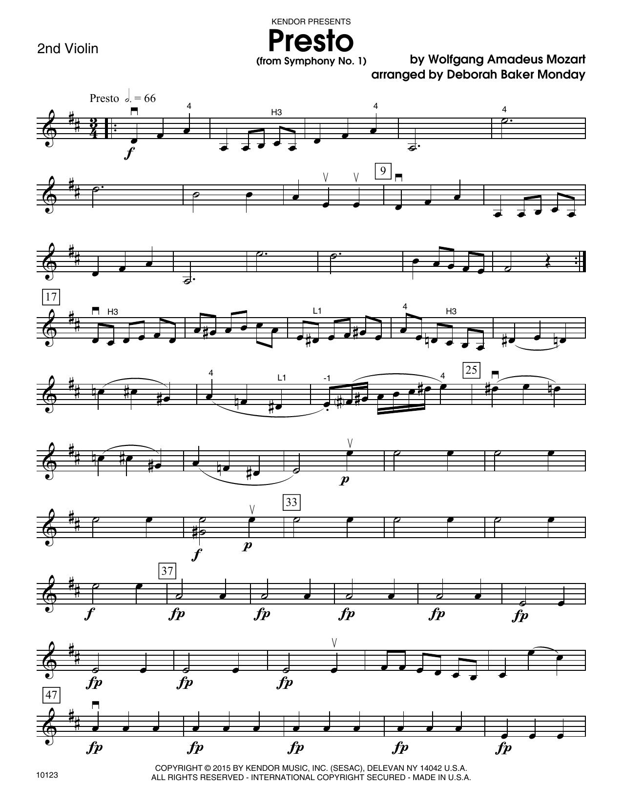 Mozart - Presto (from Symphony No. 1) - 2nd Violin