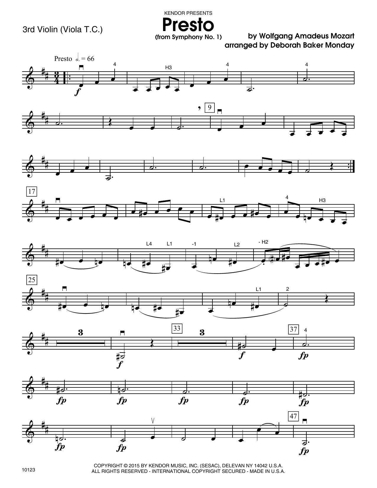 Mozart - Presto (from Symphony No. 1) - Violin 3 (Viola T.C.)