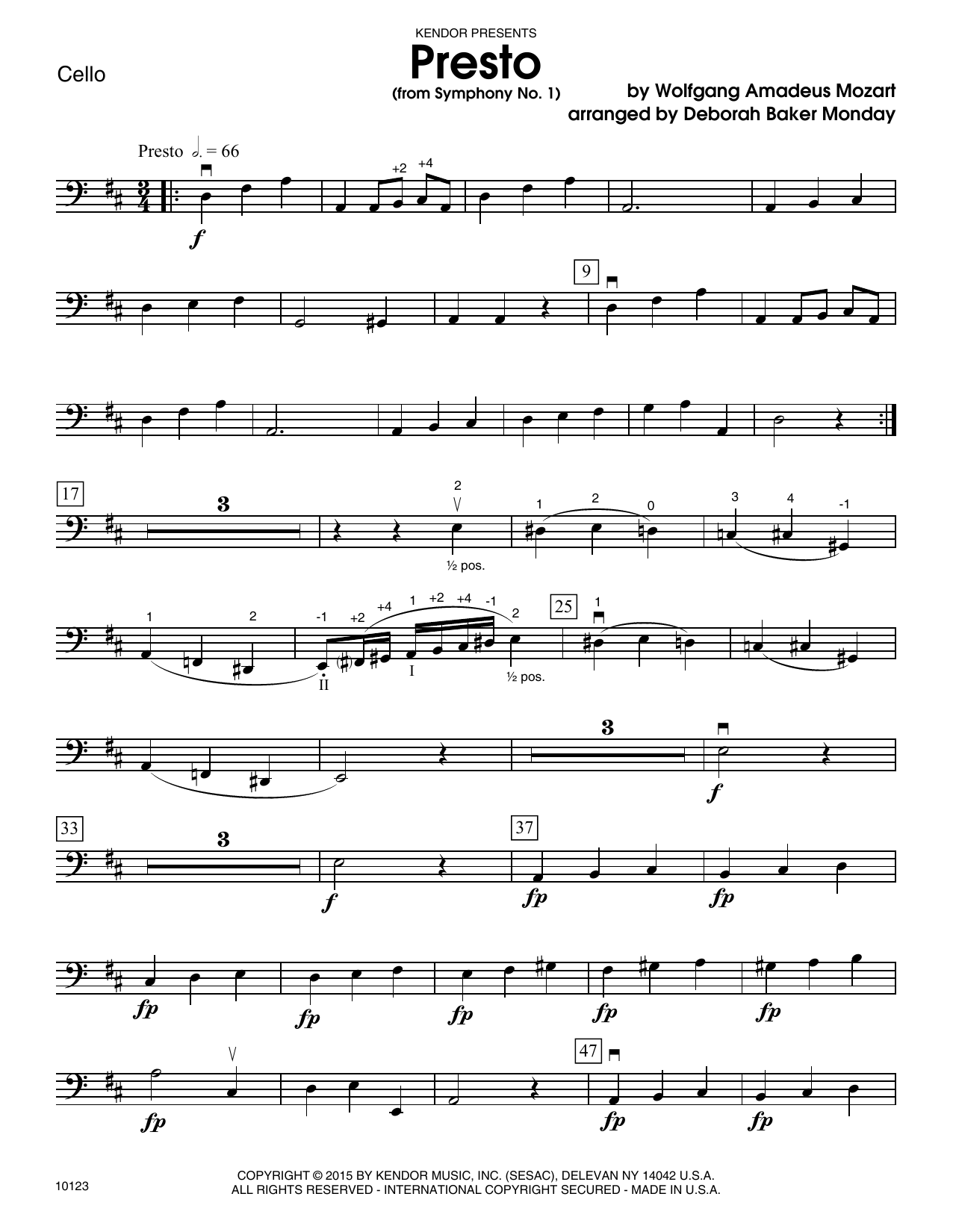Mozart - Presto (from Symphony No. 1) - Cello