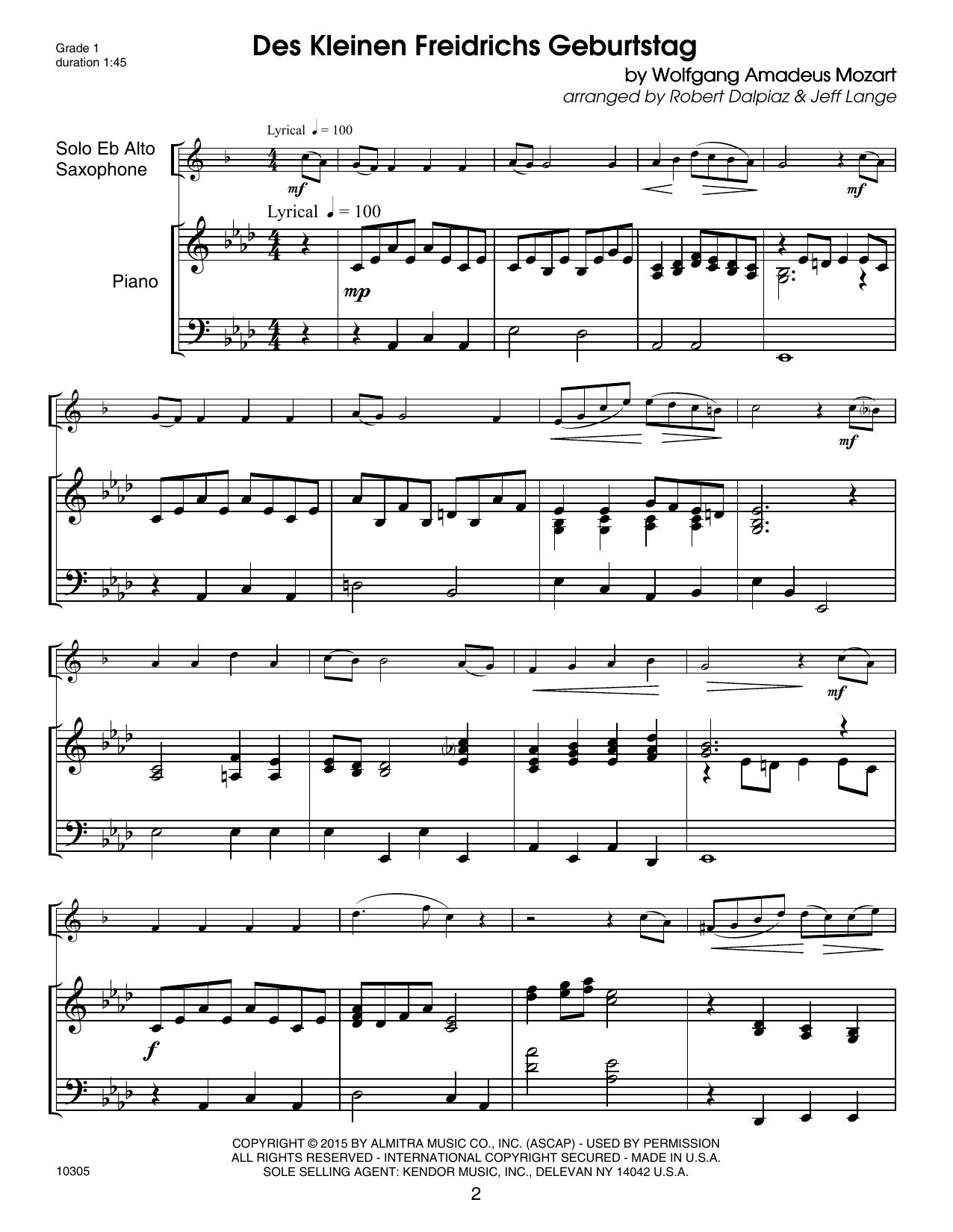 LANGE - Kendor Debut Solos - Eb Alto Sax - Piano Accompaniment