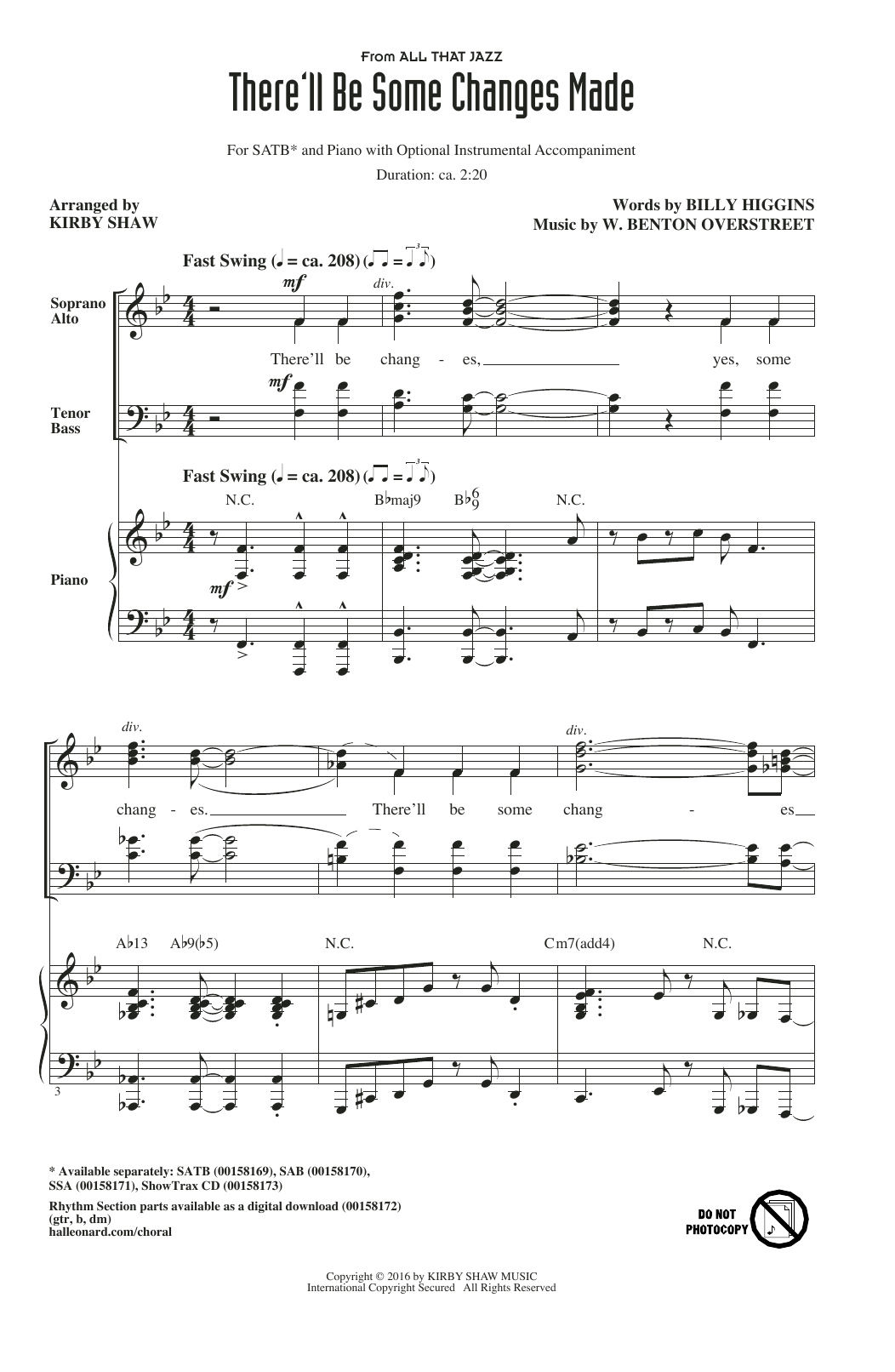 Partition chorale There'll Be Some Changes Made de Kirby Shaw - SATB