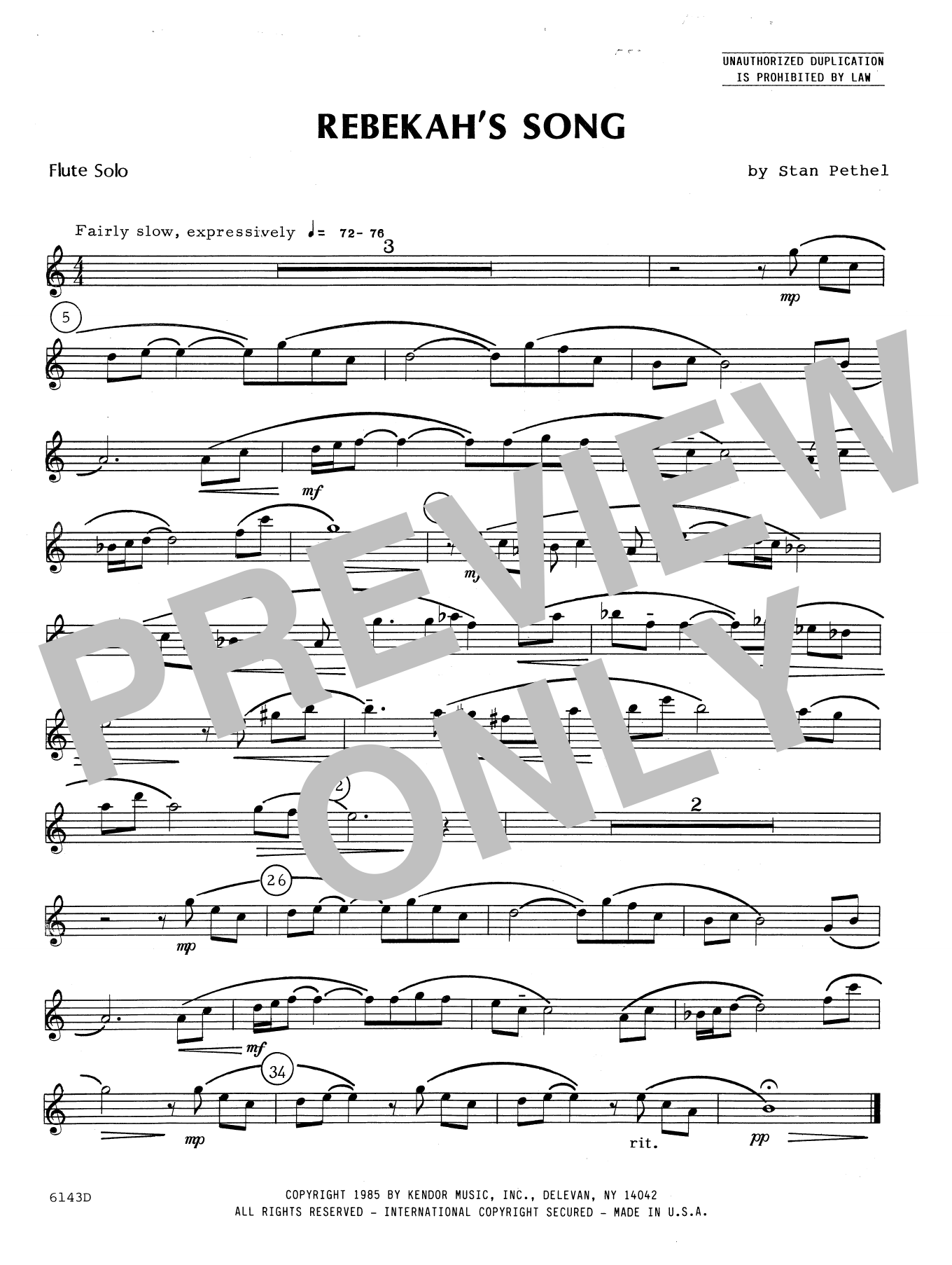 Rebekah's Song (complete set of parts) sheet music for flute and piano by Stan Pethel