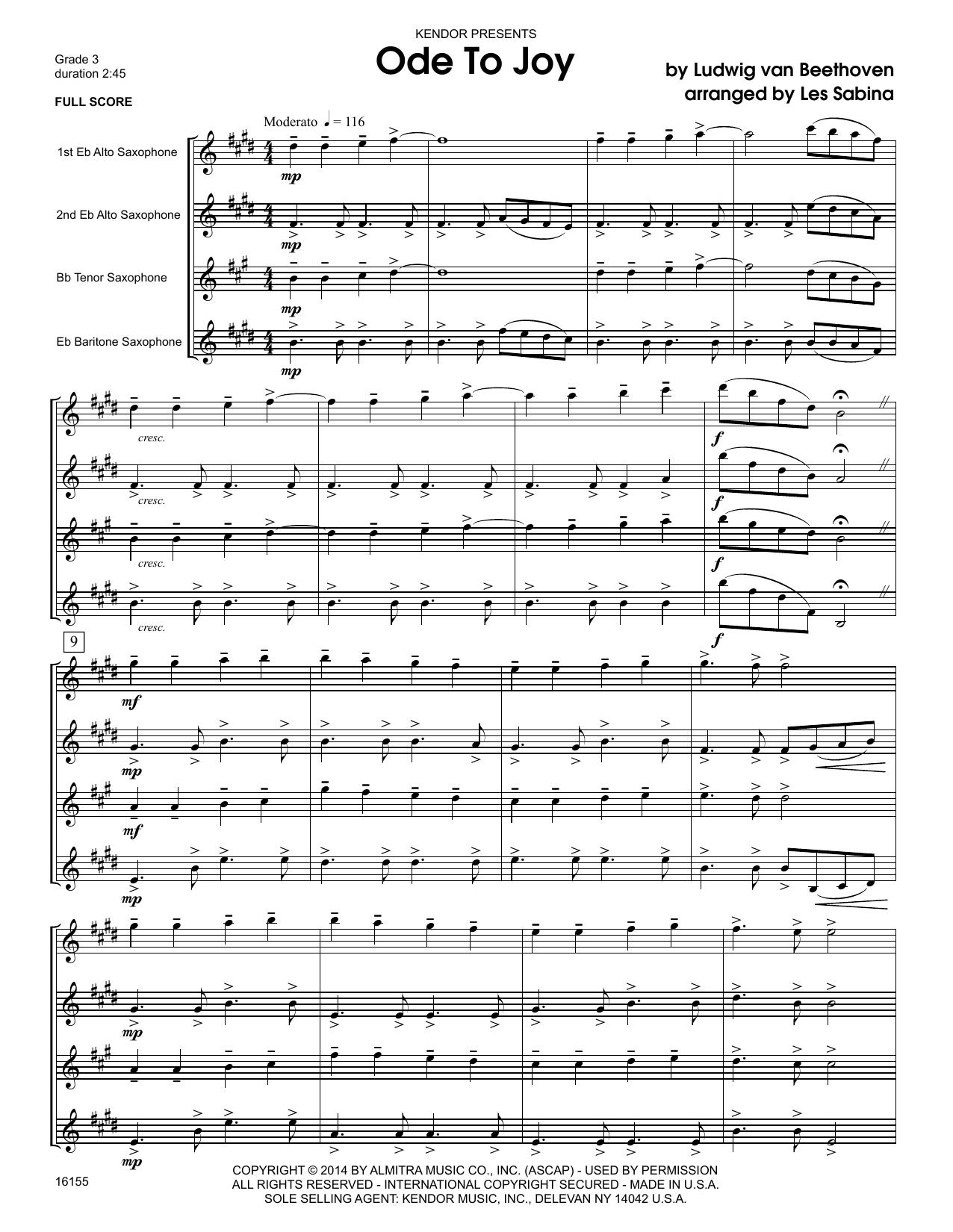 Ode To Joy (COMPLETE) sheet music for saxophone quartet by Les Sabina