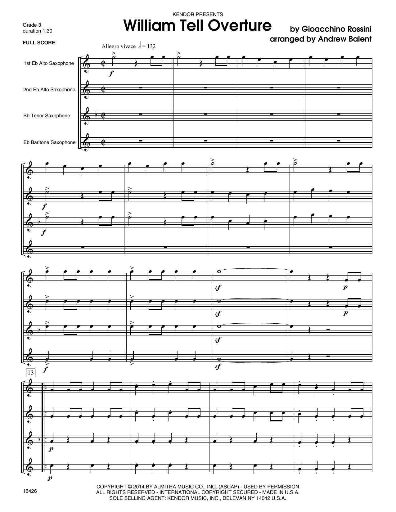 William Tell Overture (COMPLETE) sheet music for saxophone quartet by Andrew Balent