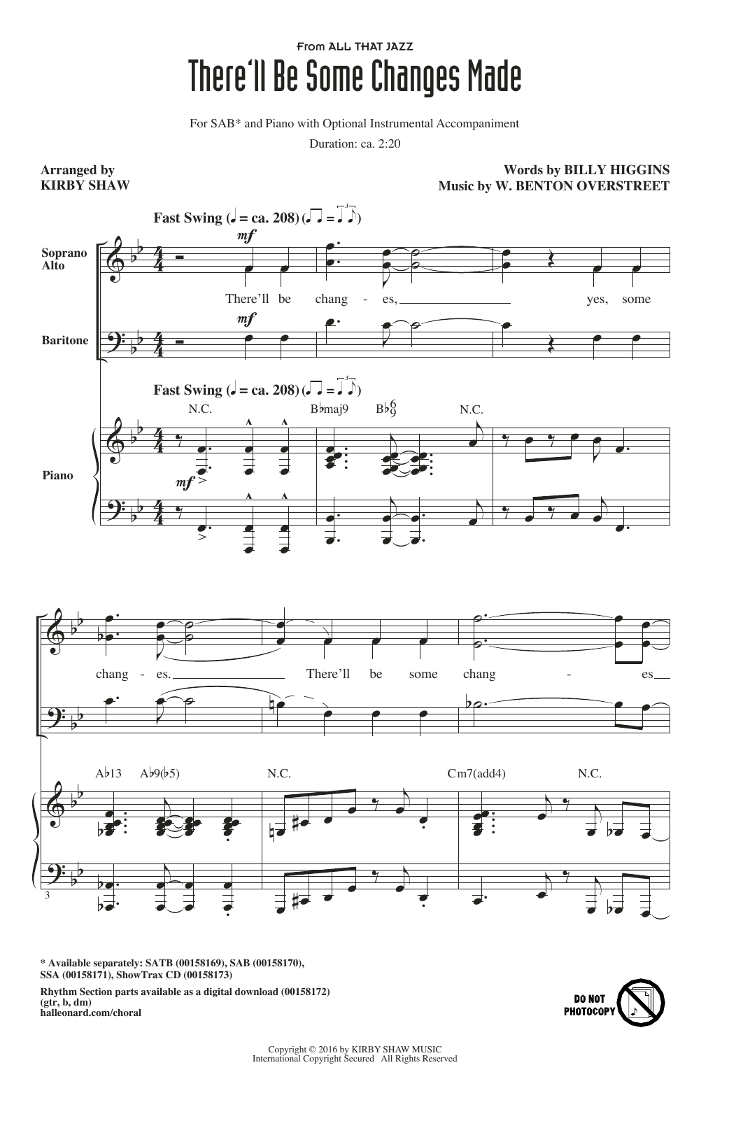 Partition chorale There'll Be Some Changes Made de Kirby Shaw - SAB