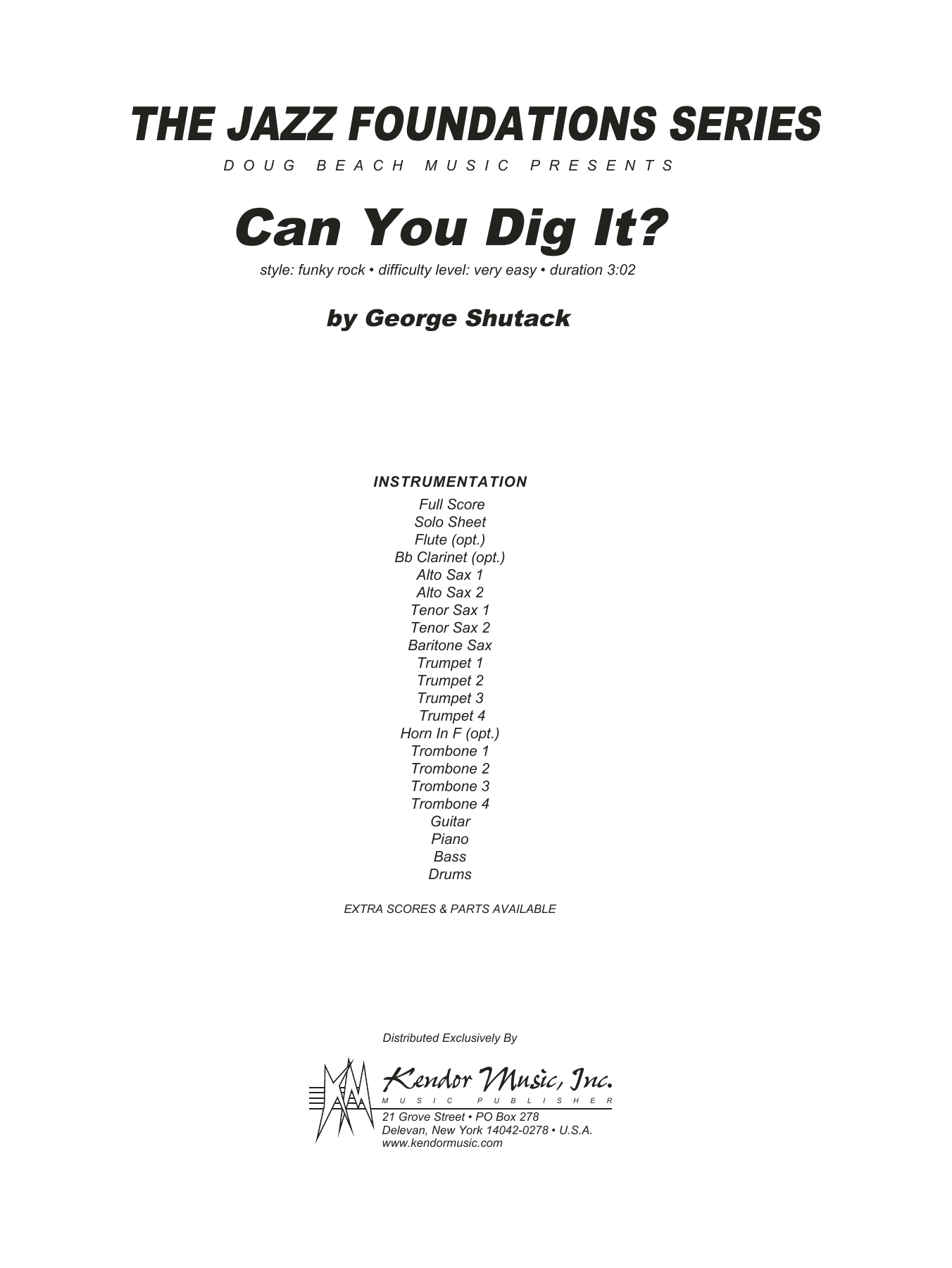 Can You Dig It? (COMPLETE) sheet music for jazz band by George Shutack