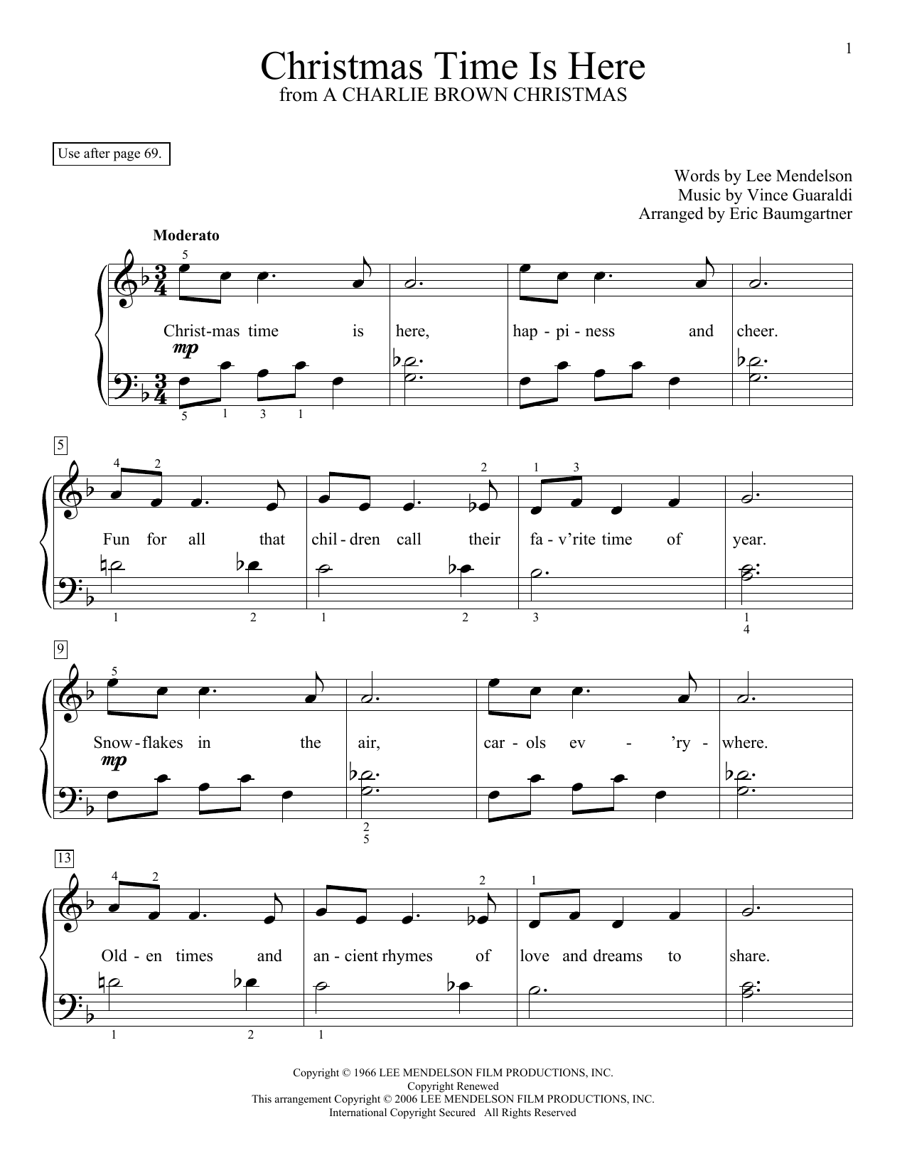 Partition piano Christmas Time Is Here de Eric Baumgartner - Piano Facile