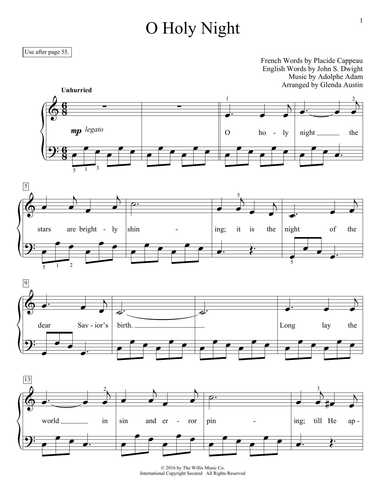 Partition piano O Holy Night de Glenda Austin - Piano Facile