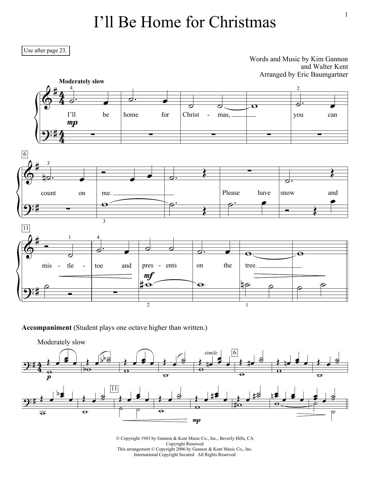 Partition piano I'll Be Home For Christmas de Eric Baumgartner - Piano Facile