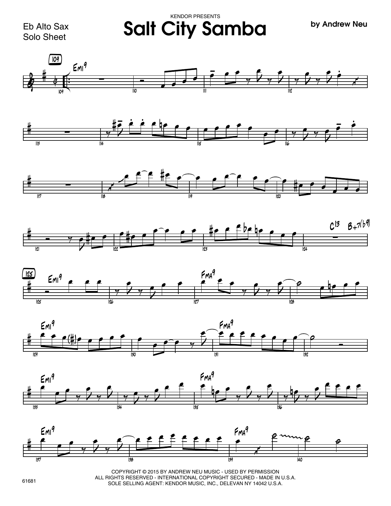 Salt City Samba - Solo Sheet - Alto Sax