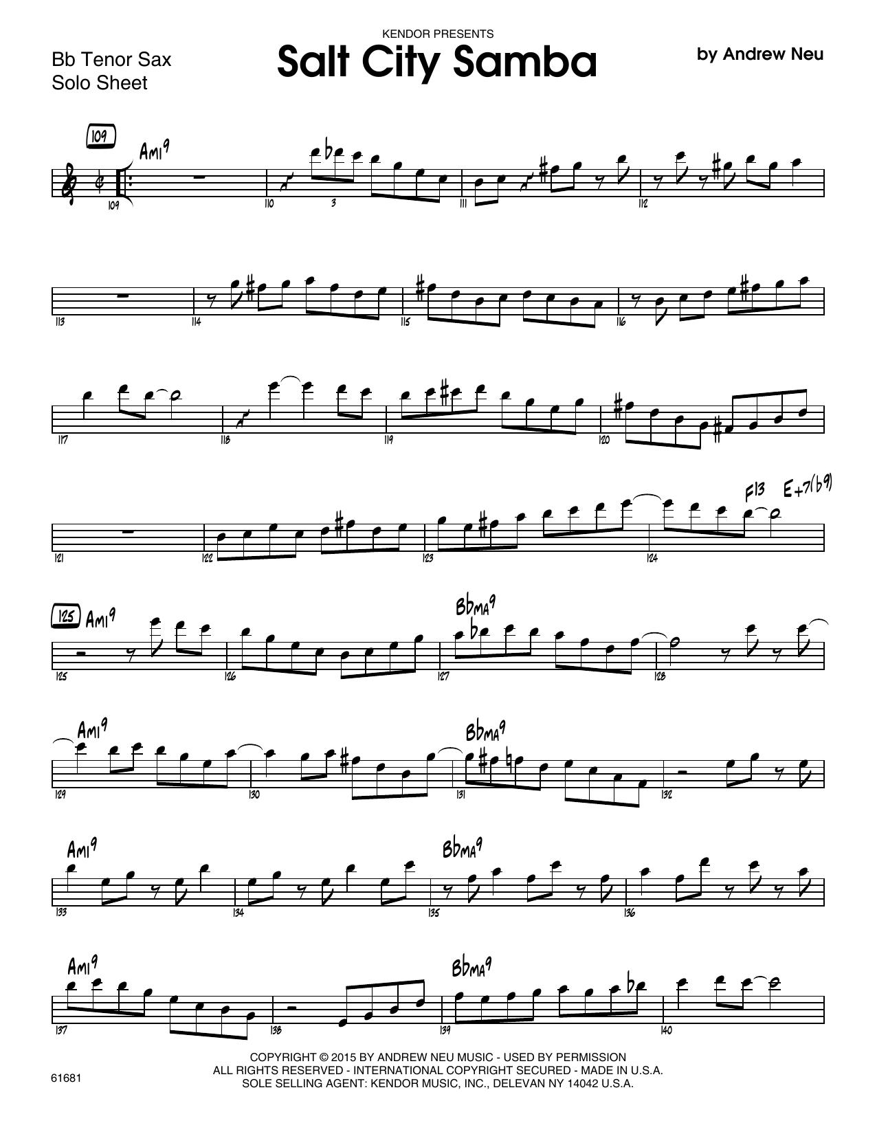 Salt City Samba - Solo Sheet - Tenor Sax